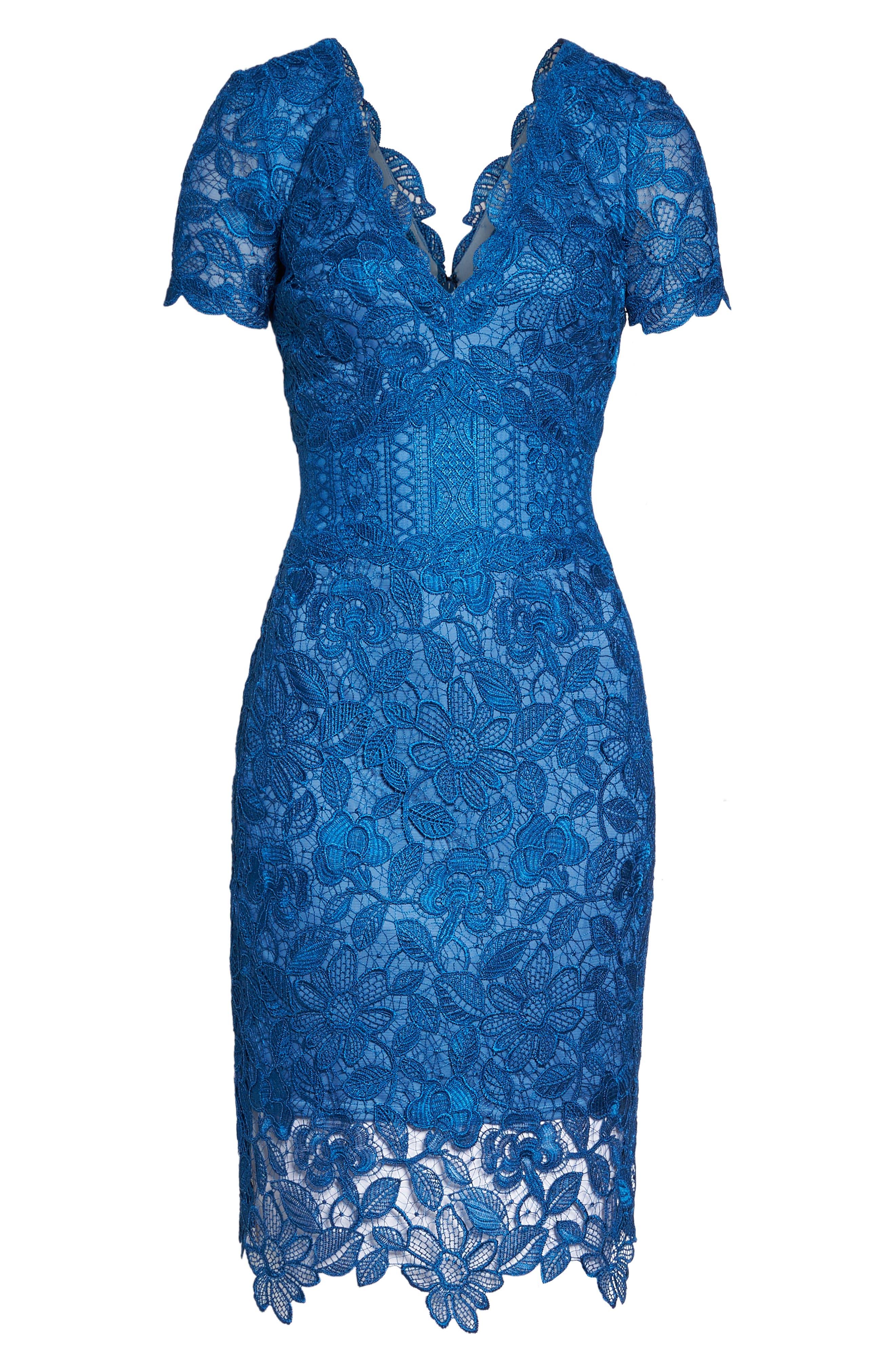 Carter Lace Sheath Dress,                             Alternate thumbnail 6, color,                             Azure