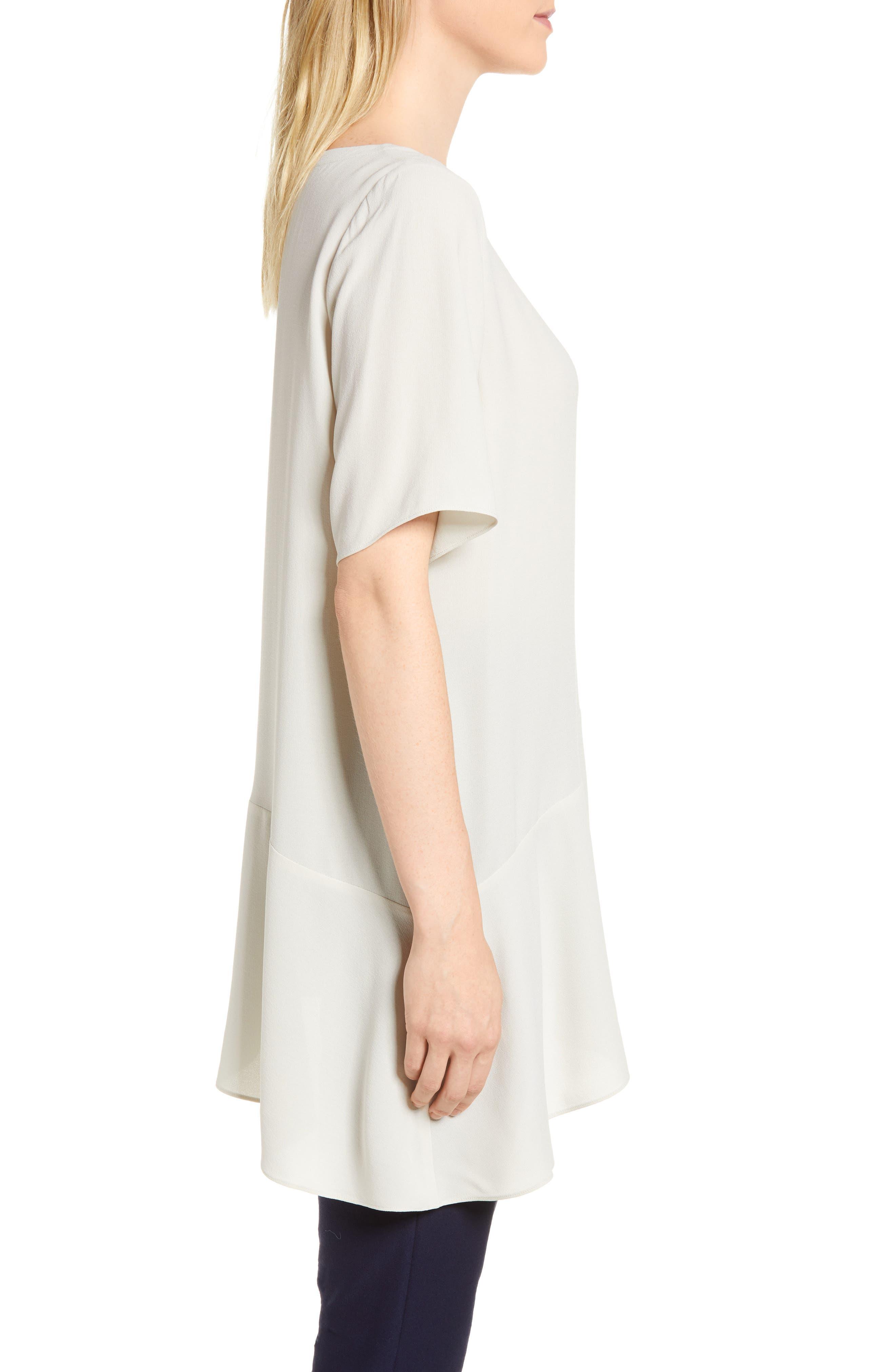 Asymmetrical Silk Top,                             Alternate thumbnail 3, color,                             Bone