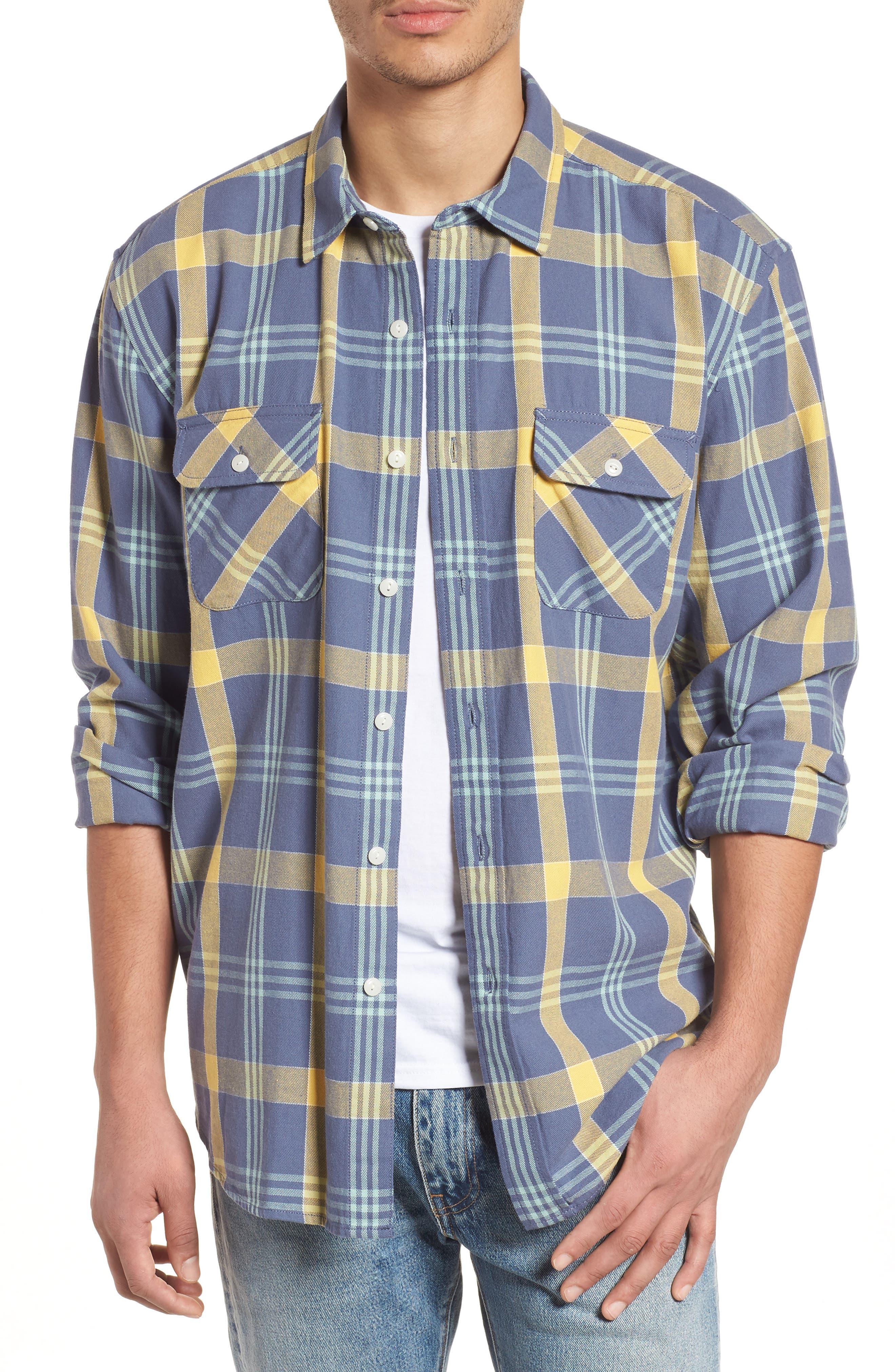 Beach Shack Twill Shirt,                         Main,                         color, 65310 Indigo/Orche Plaid