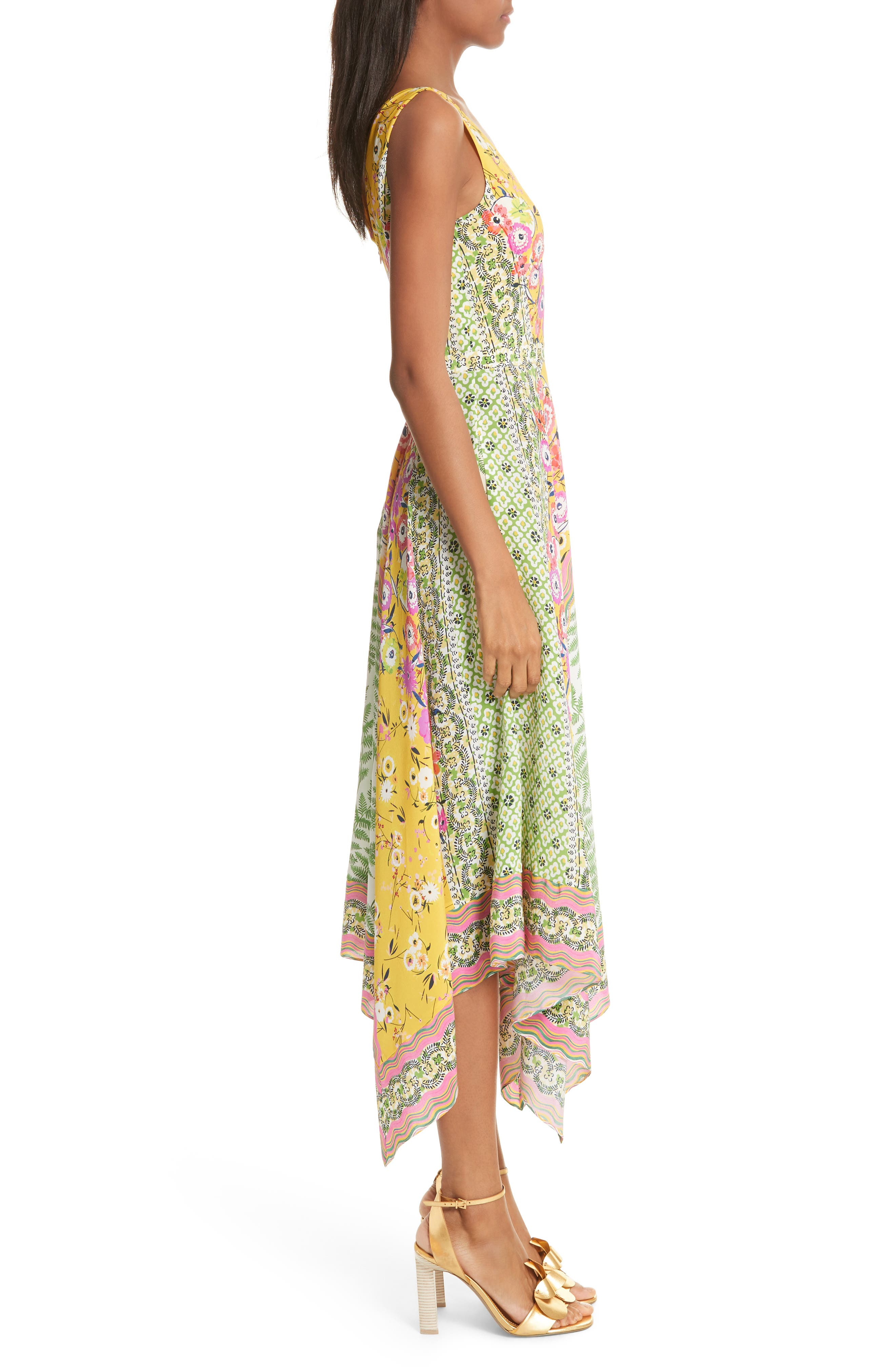 Zuri Floral Print Dress,                             Alternate thumbnail 3, color,                             Flowers/ Ferns