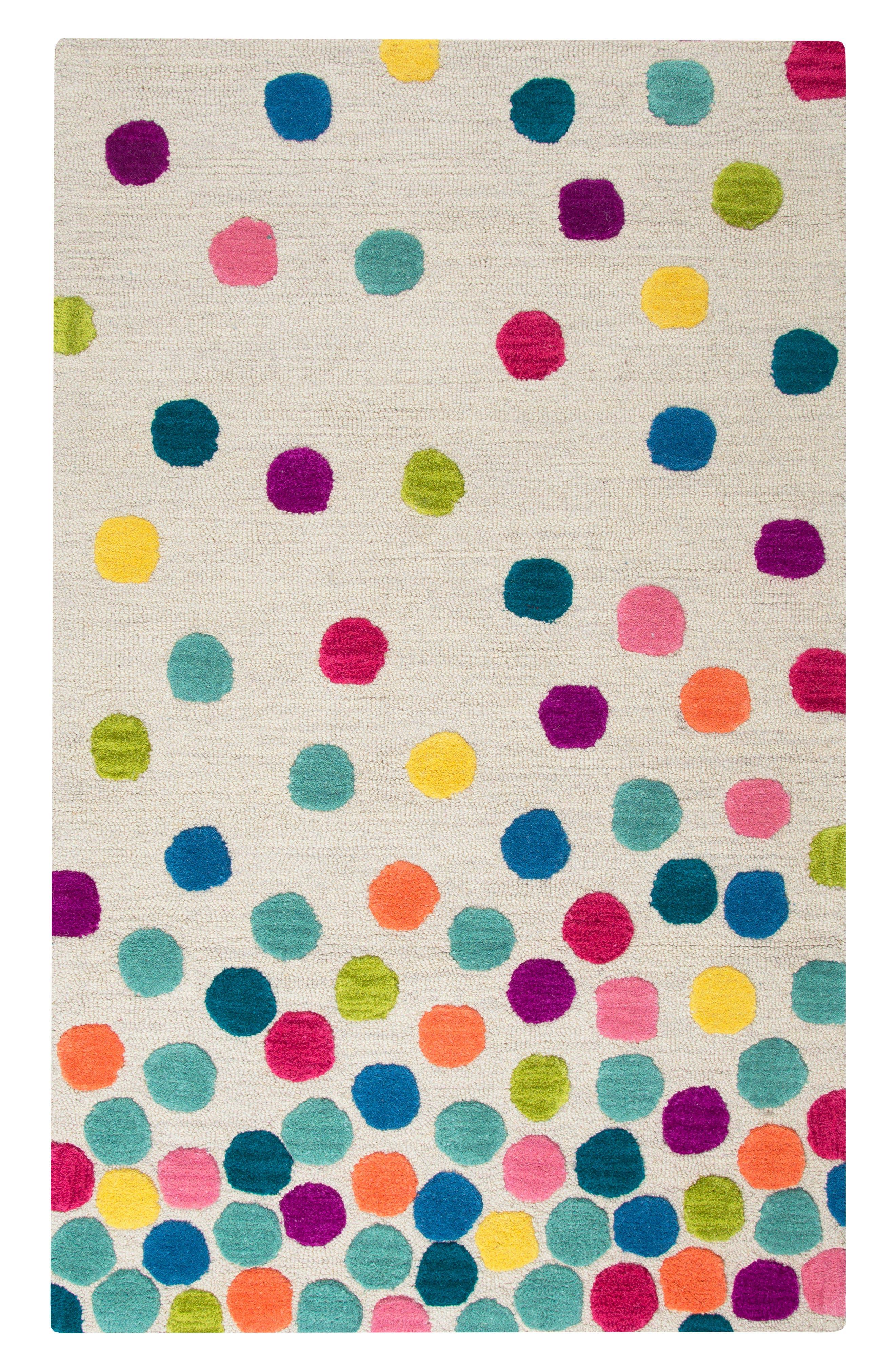 Play Day Crazy Dots Rug,                             Main thumbnail 1, color,                             Ivory