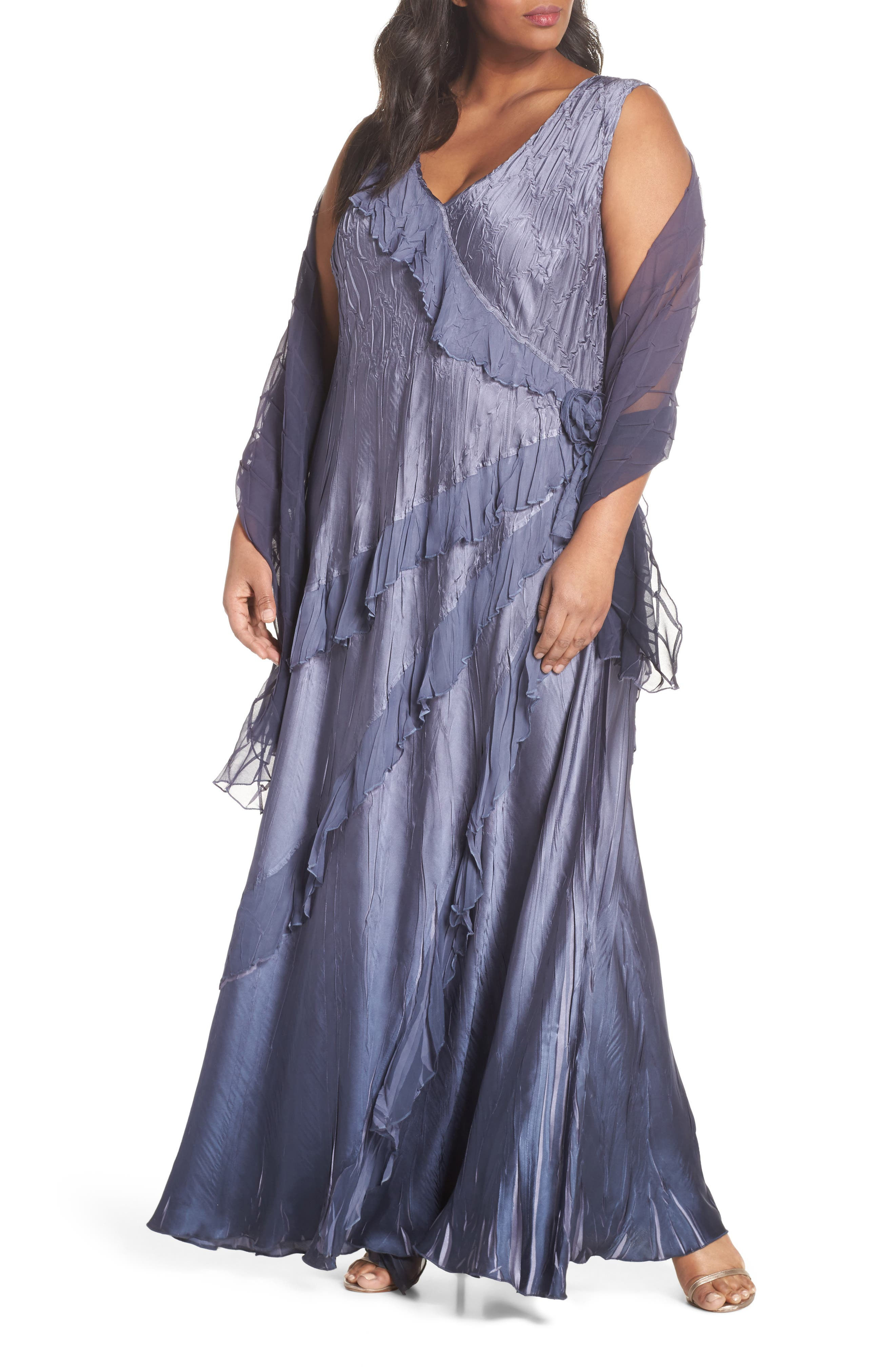 Ruffle Charmeuse Gown with Wrap,                             Main thumbnail 1, color,                             Purple Sage Night Ombre
