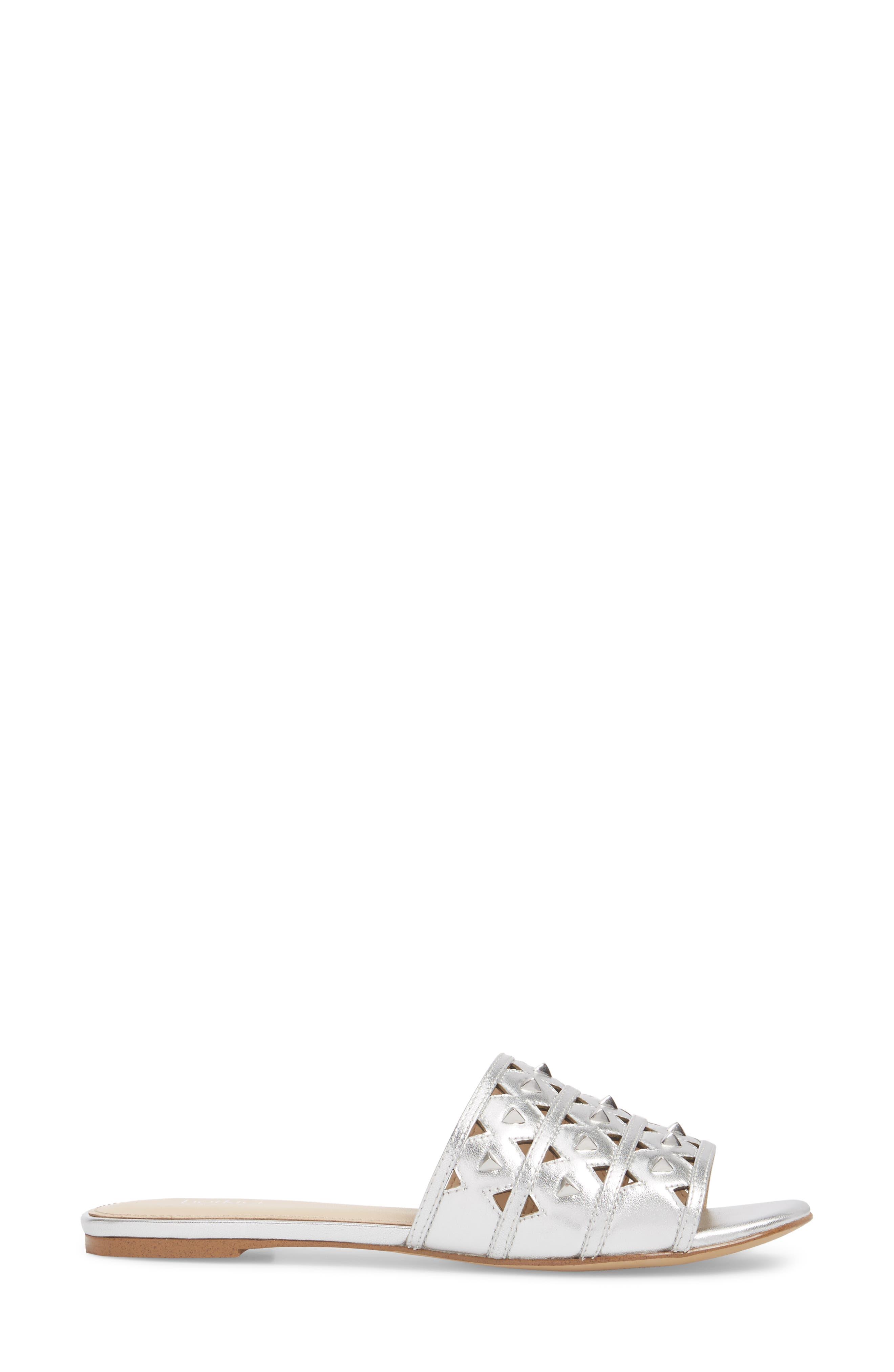 Maeva Slide Sandal,                             Alternate thumbnail 3, color,                             Argento Leather