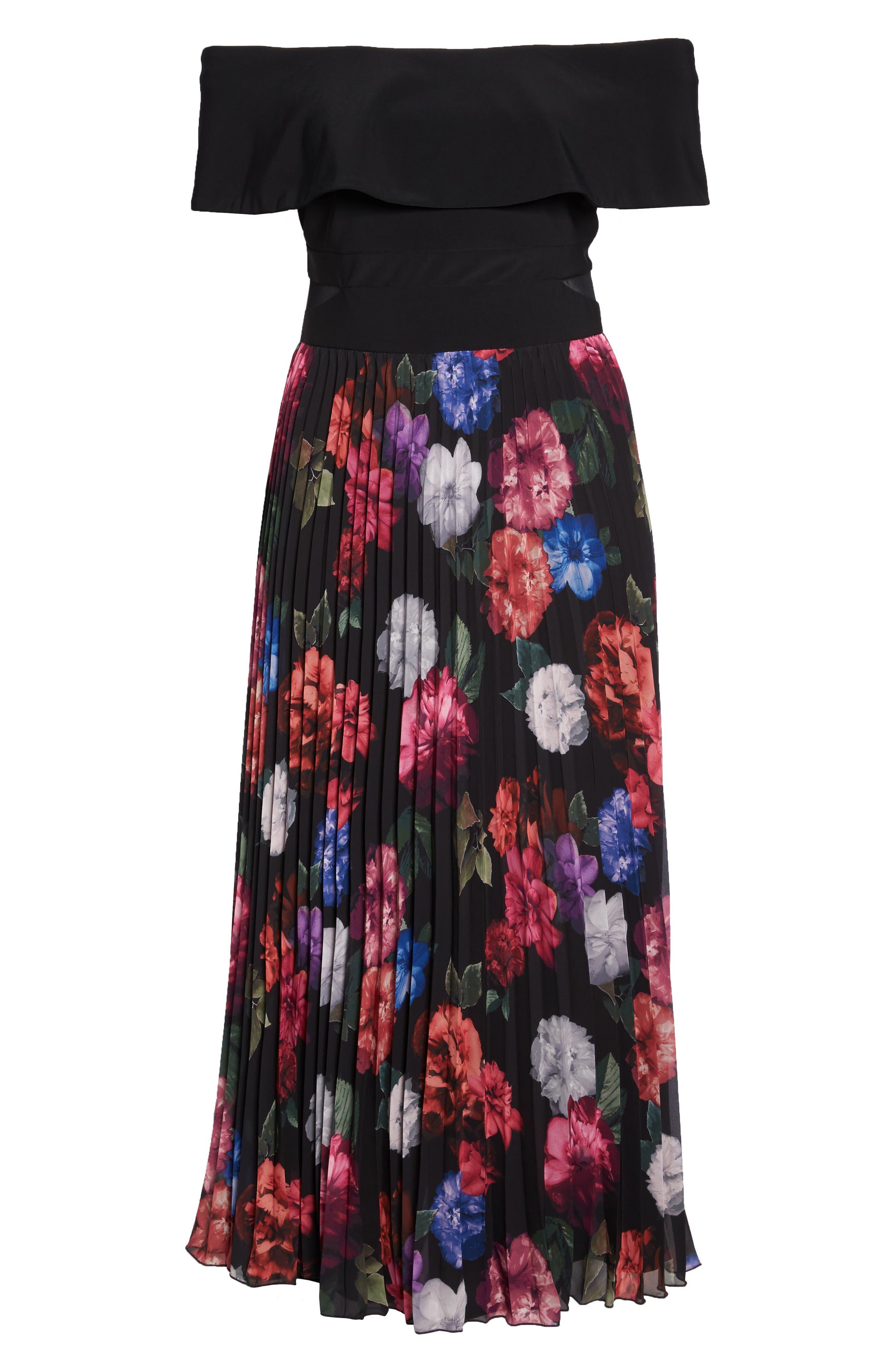 Pleated Floral Off the Shoulder Gown,                             Alternate thumbnail 6, color,                             Black/ Purple