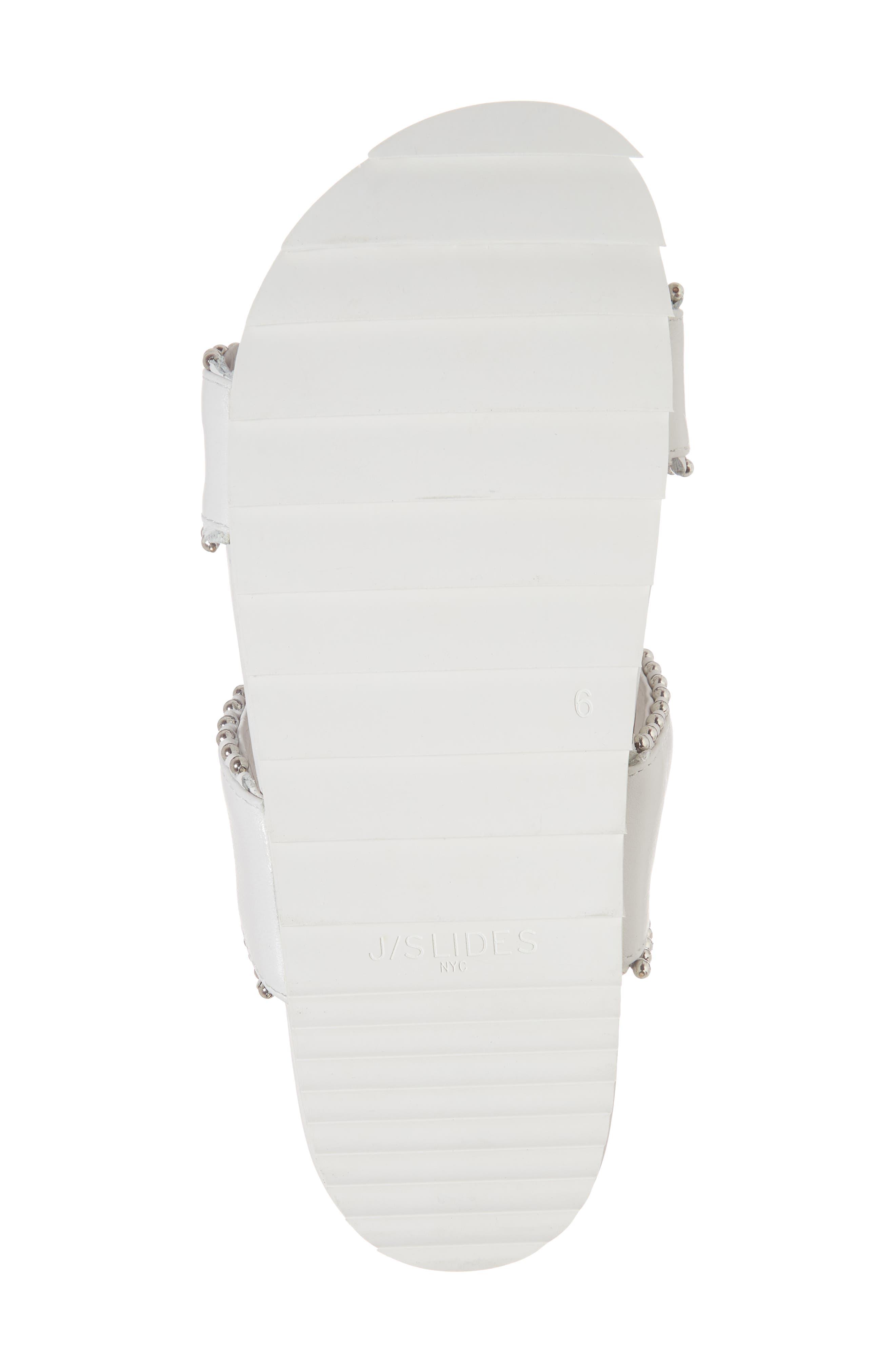 Emmie Bead Chain Slide Sandal,                             Alternate thumbnail 6, color,                             White Leather