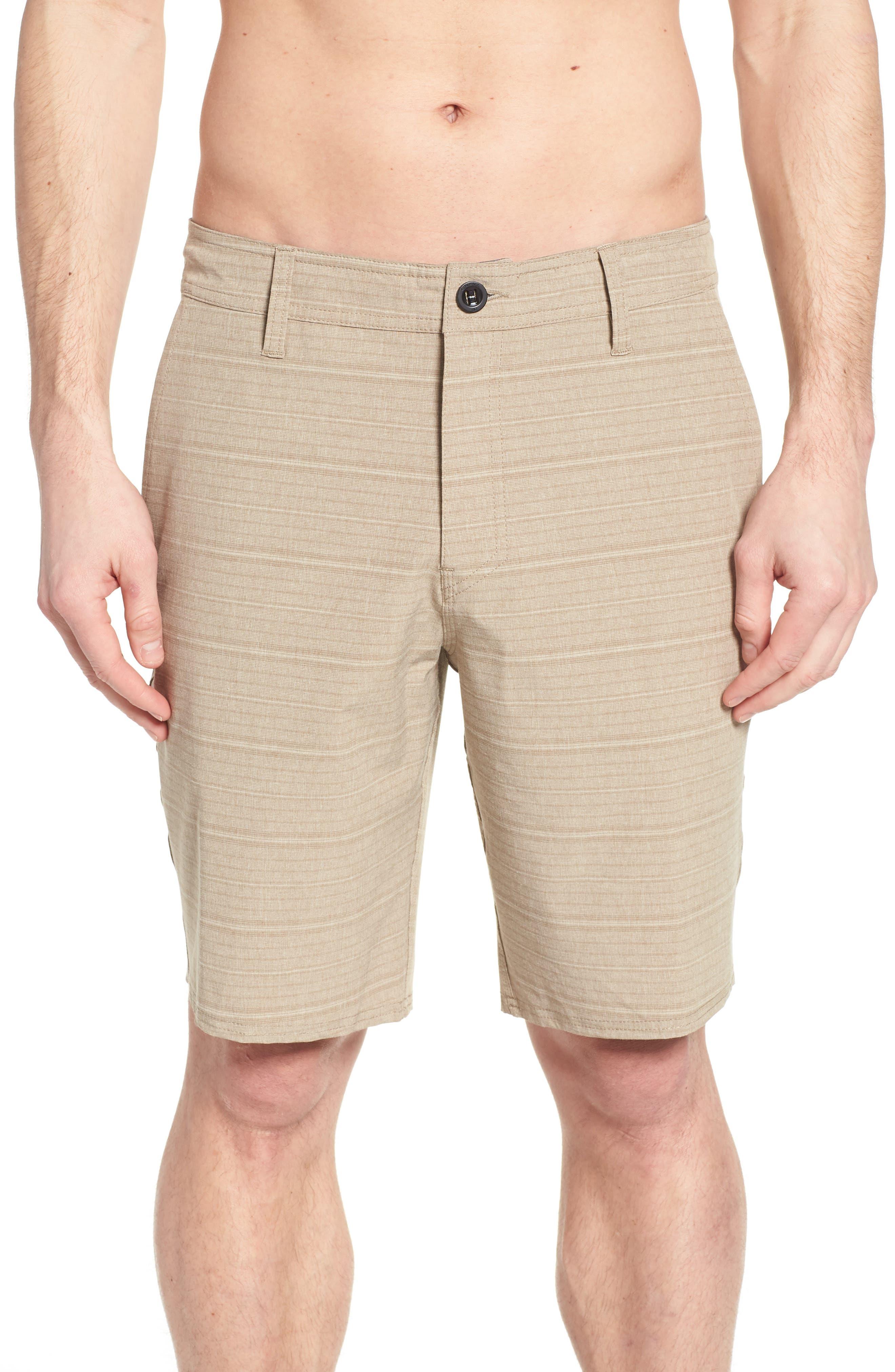 Locked Stripe Hybrid Shorts,                             Alternate thumbnail 4, color,                             Khaki