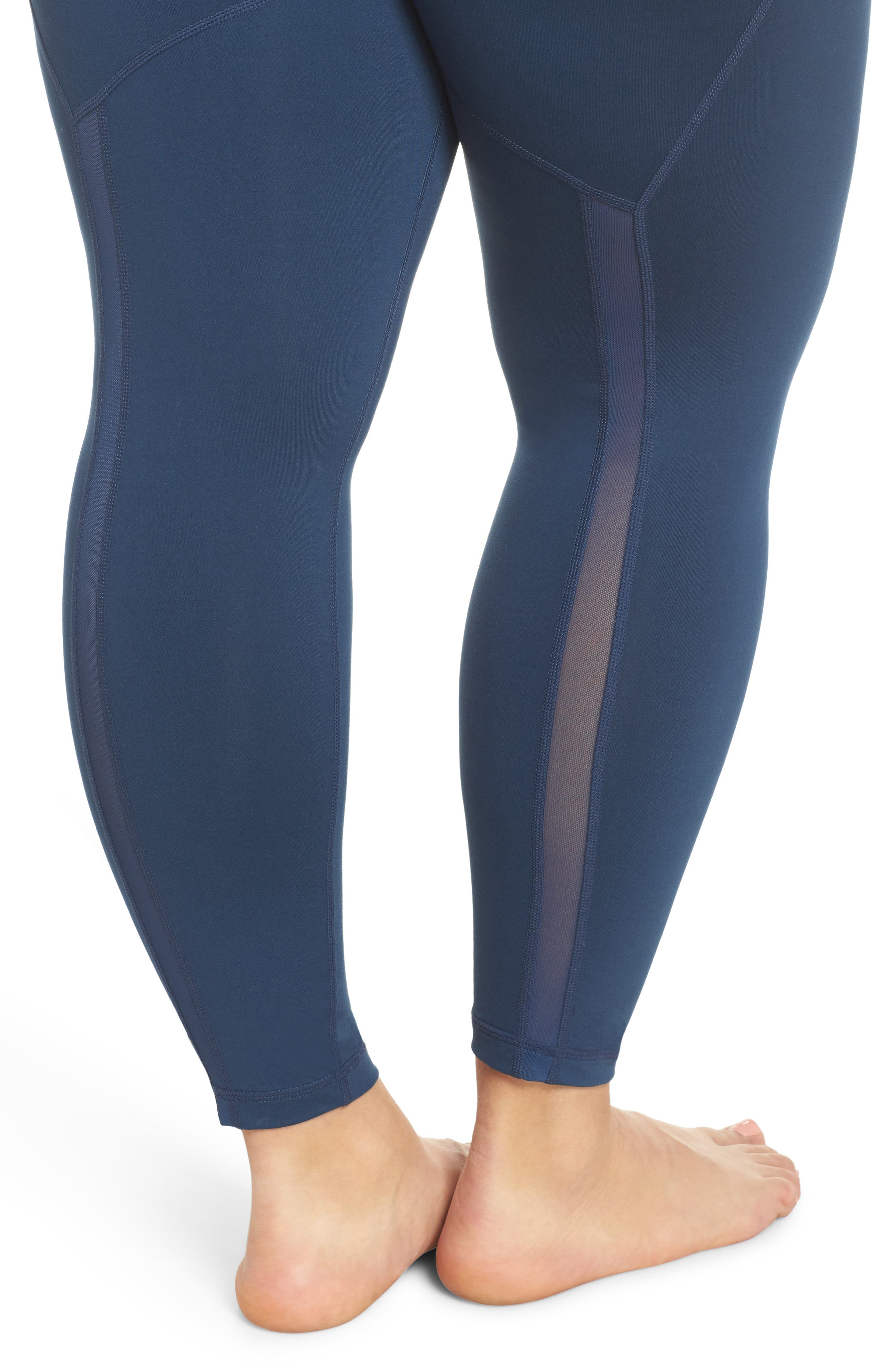 Lightweight High Waist Midi Leggings,                             Alternate thumbnail 4, color,                             Blue Insignia