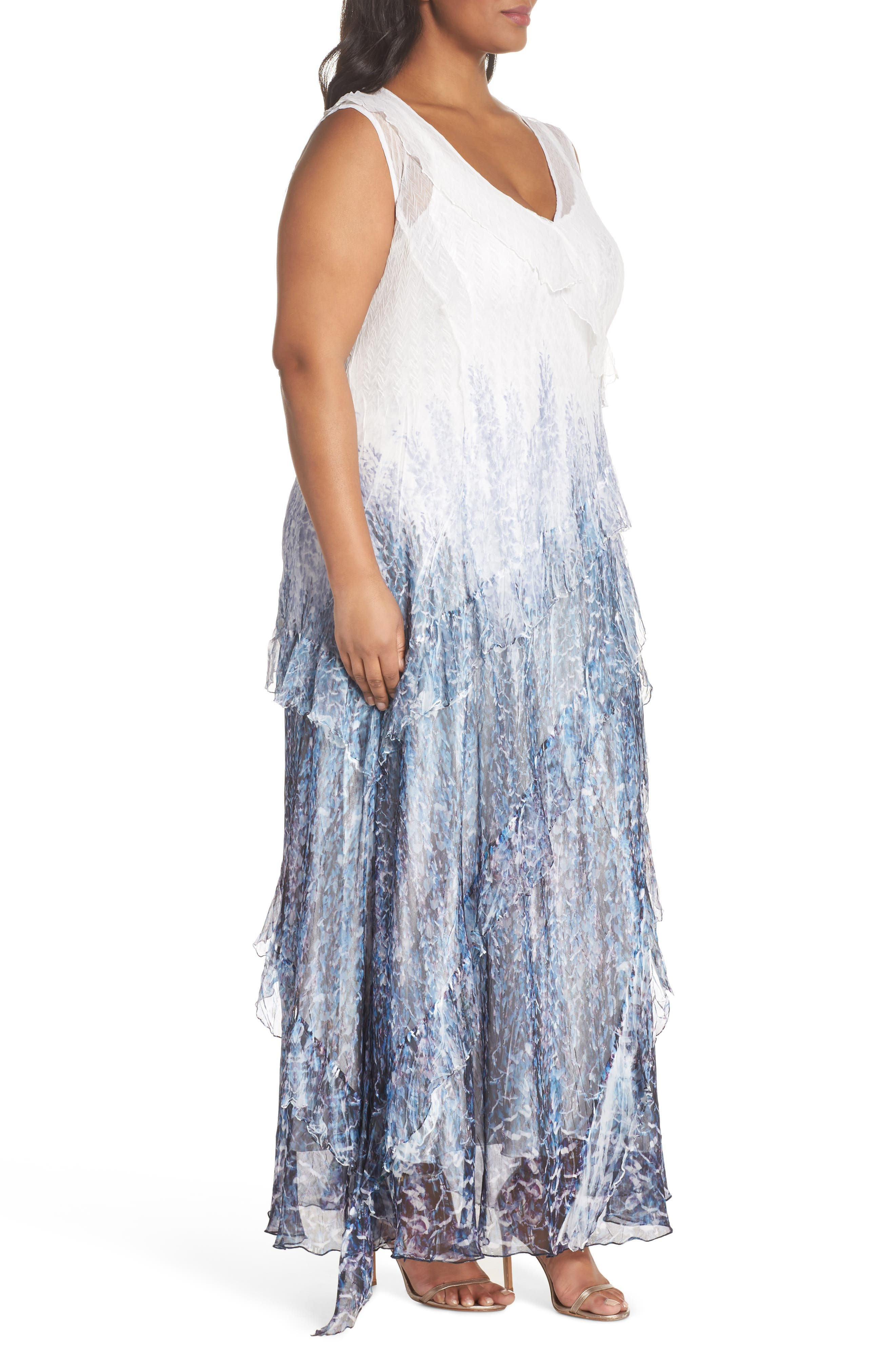 Ruffle Charmeuse & Chiffon Gown with Wrap,                             Alternate thumbnail 3, color,                             Lupine Fields