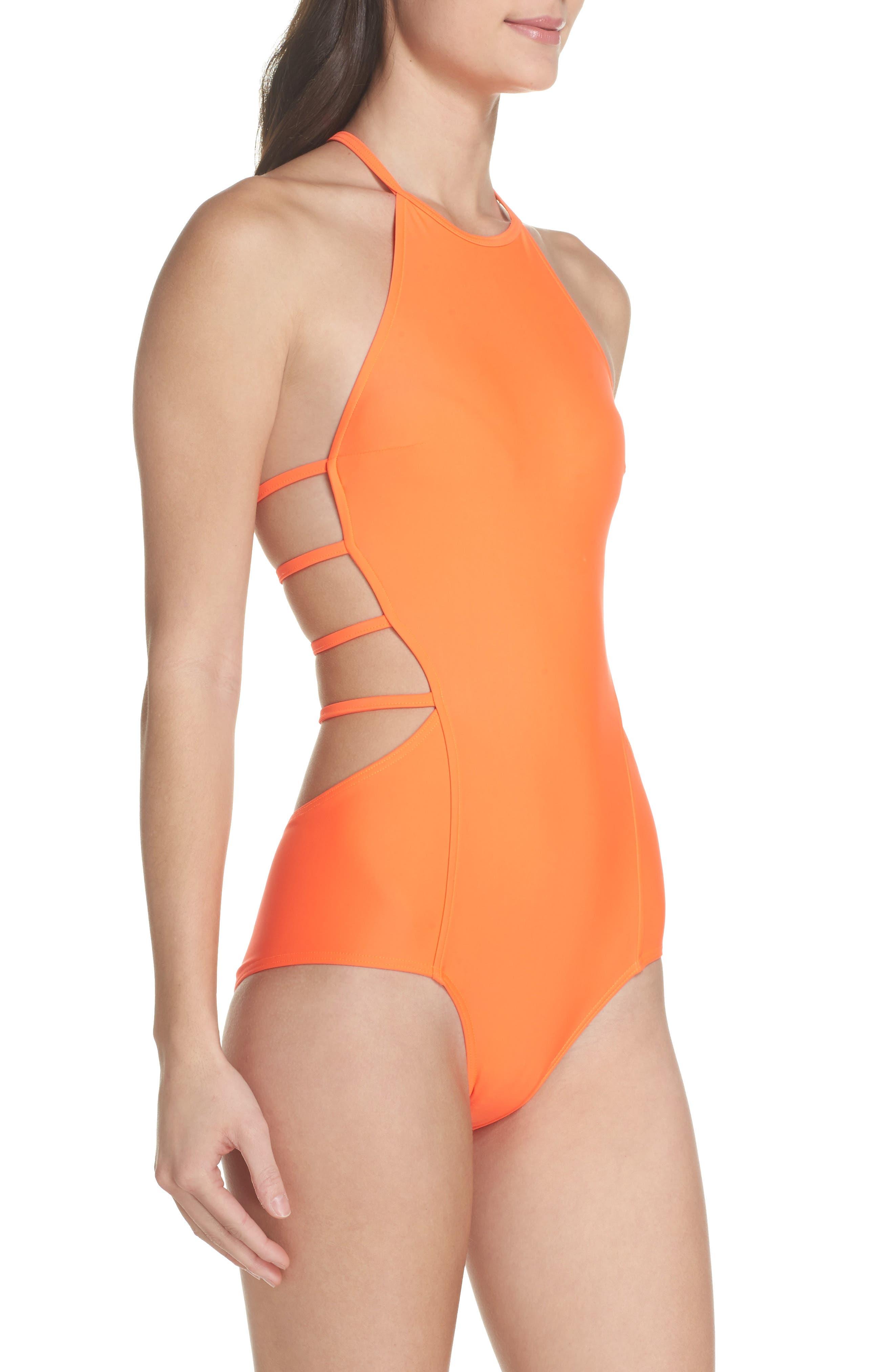 Amelia Strappy Back One-Piece Swimsuit,                             Alternate thumbnail 3, color,                             Neon Lava Orange