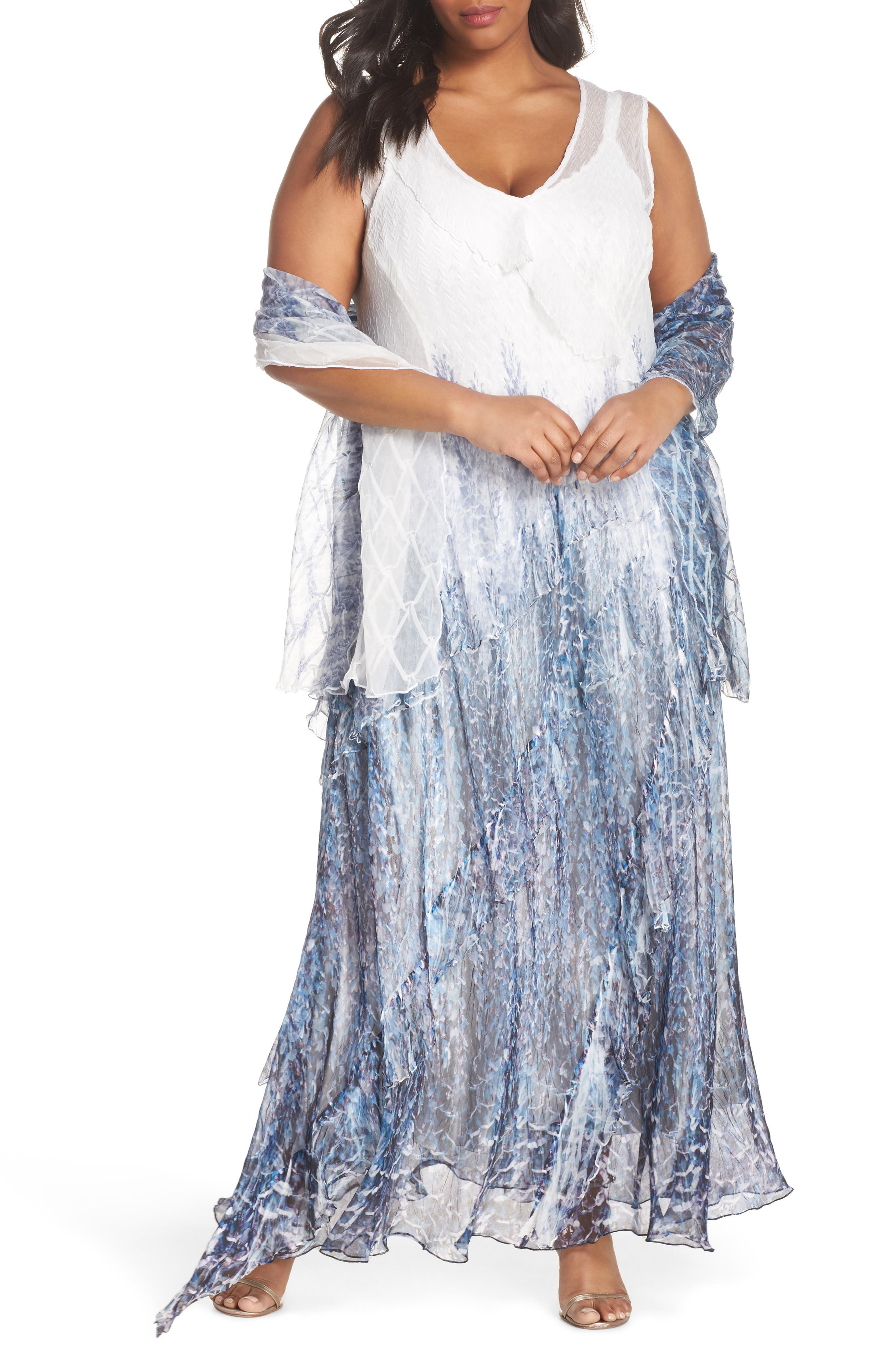 Ruffle Charmeuse & Chiffon Gown with Wrap,                             Main thumbnail 1, color,                             Lupine Fields