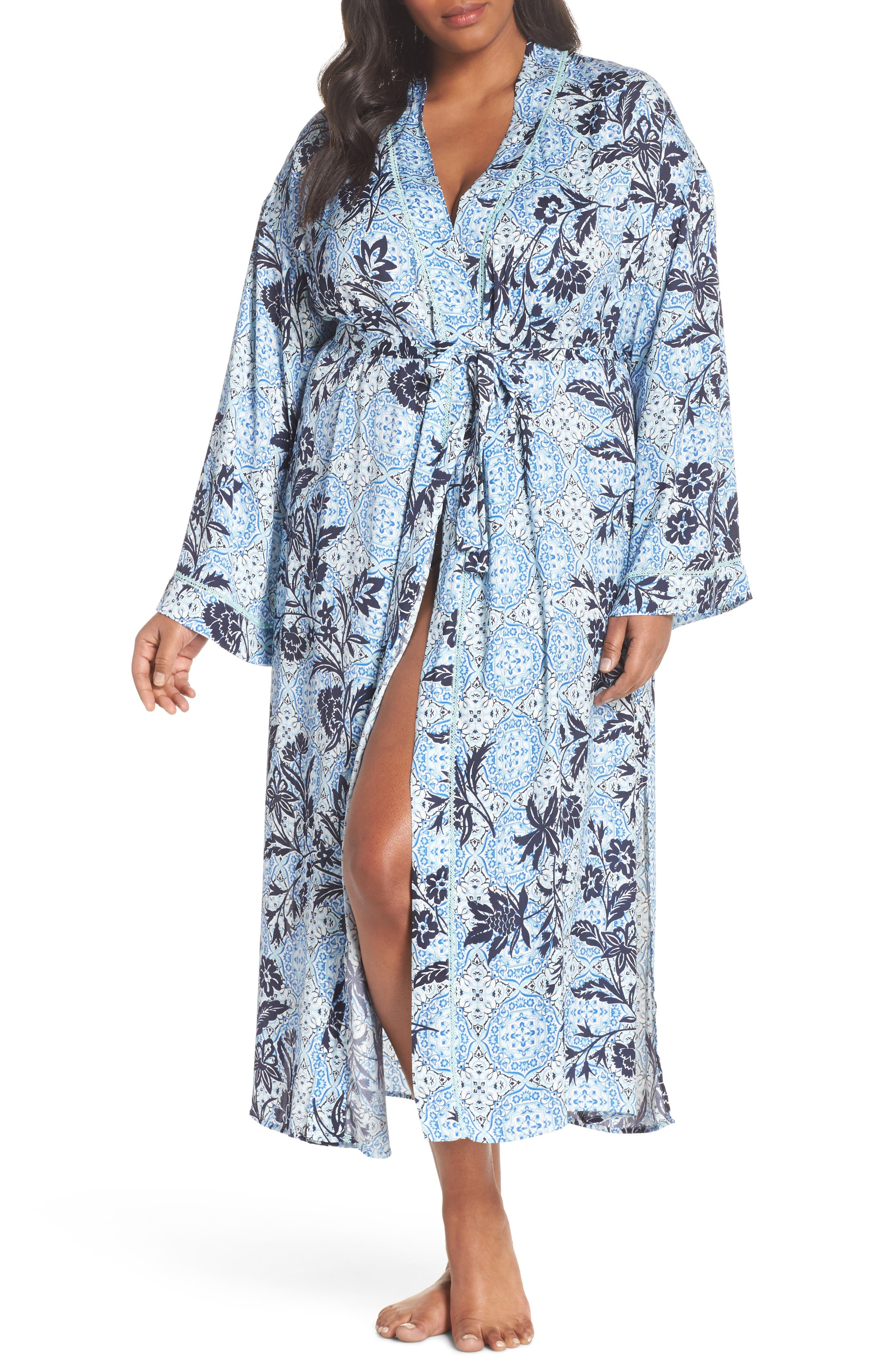 Sweet Dreams Satin Robe,                         Main,                         color, Blue Palace Tile Floral