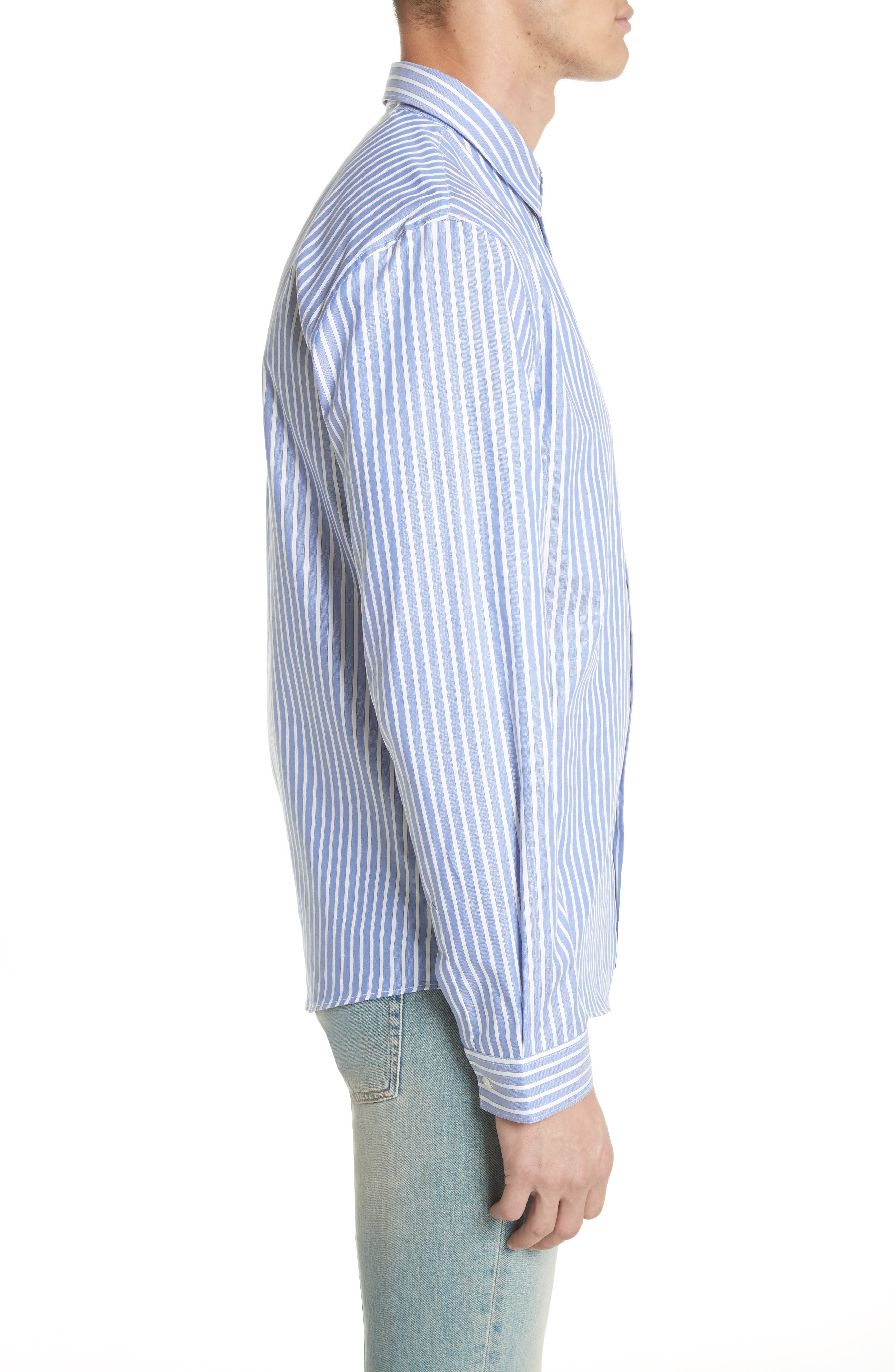Bee Embroidered Stripe Dress Shirt,                             Alternate thumbnail 4, color,                             4869 Blue