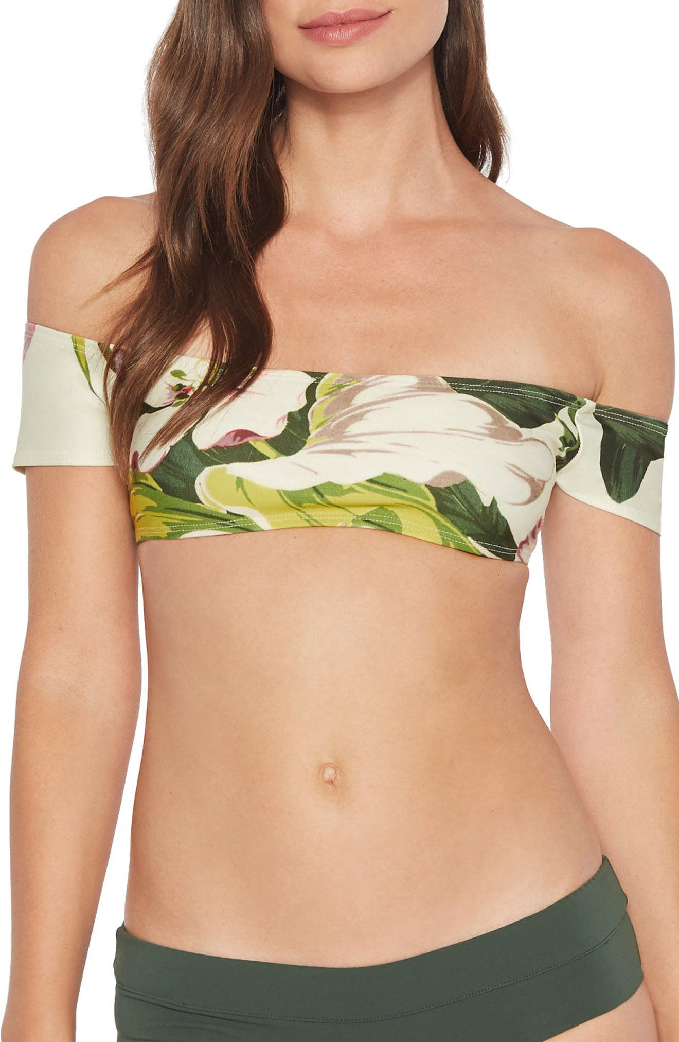 Hawaiian Floral Off the Shoulder Bikini Top,                         Main,                         color, Multi