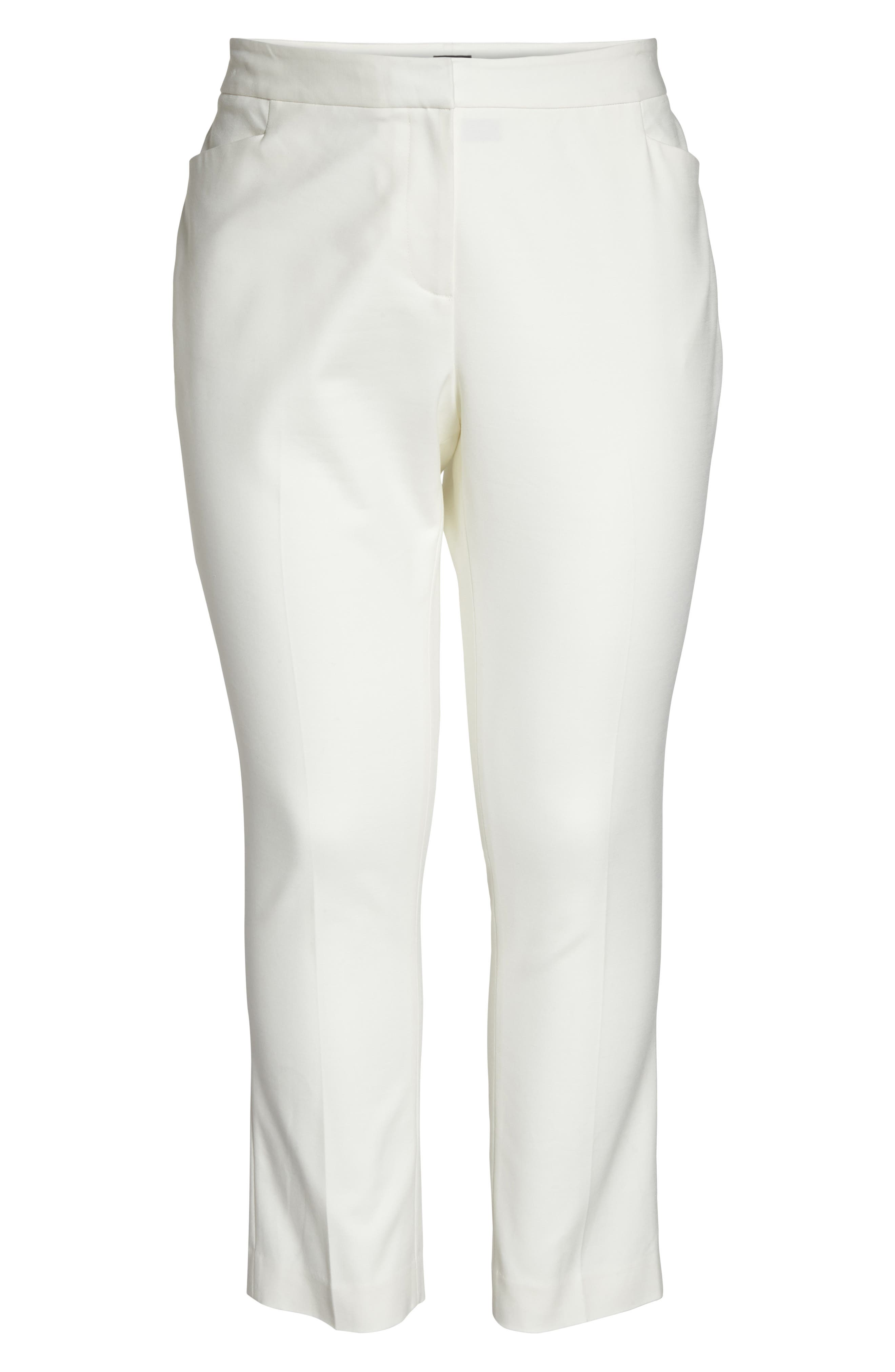 Stretch Cotton Blend Ankle Pants,                             Alternate thumbnail 7, color,                             New Ivory
