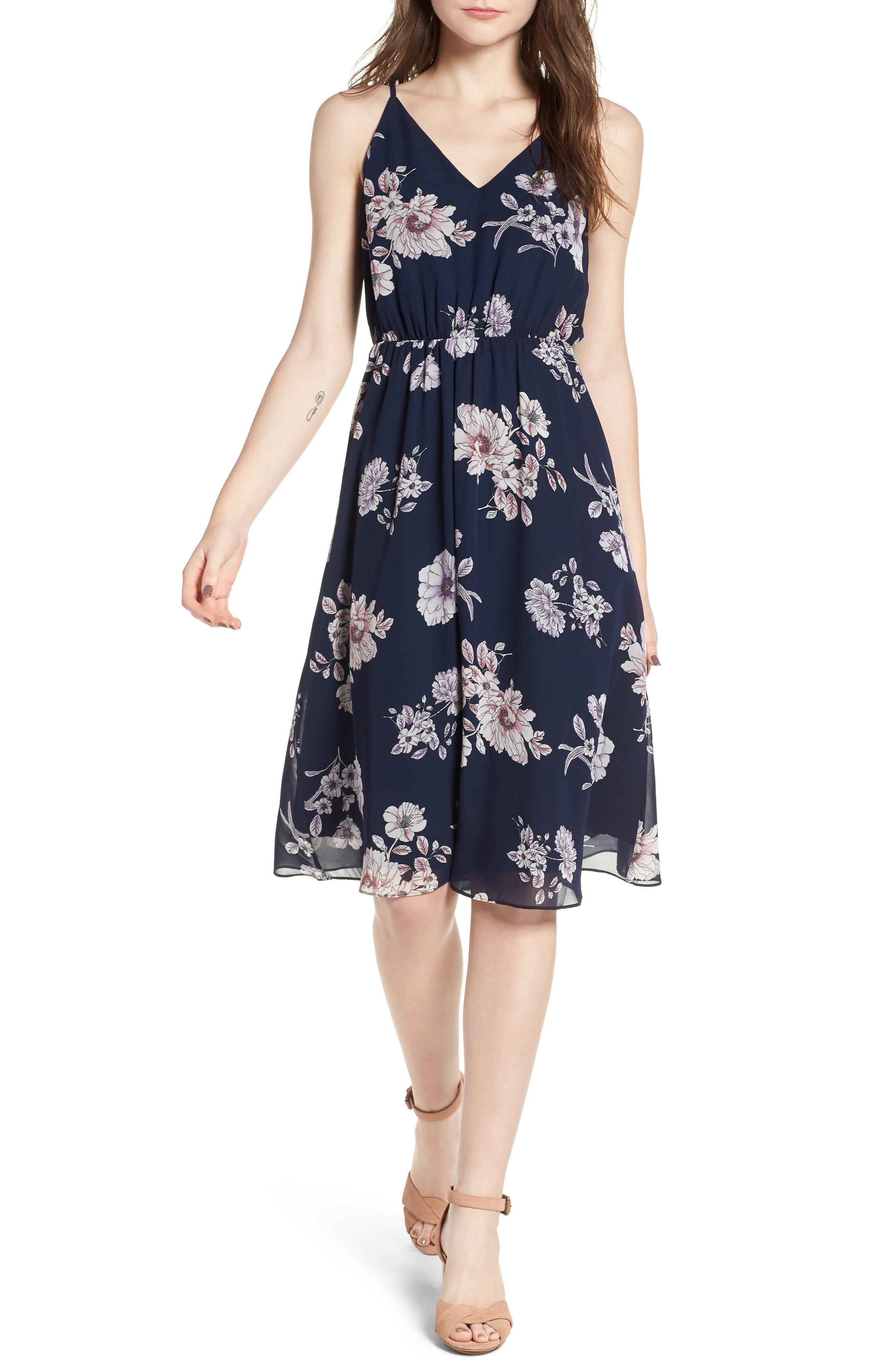 Floral Blouson Midi Dress,                             Main thumbnail 1, color,                             Navy