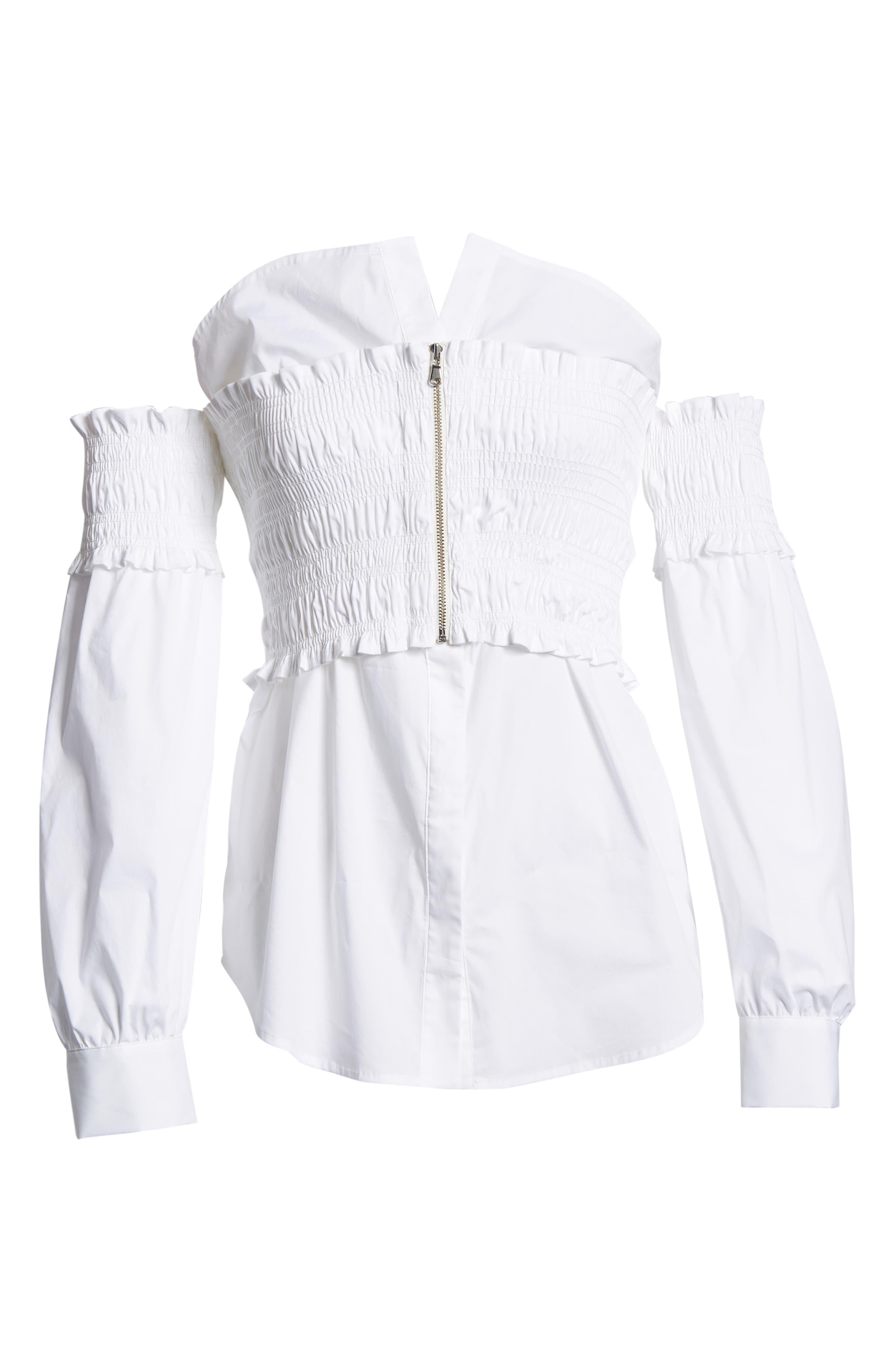 Smocked Corset Shirt,                             Alternate thumbnail 7, color,                             White
