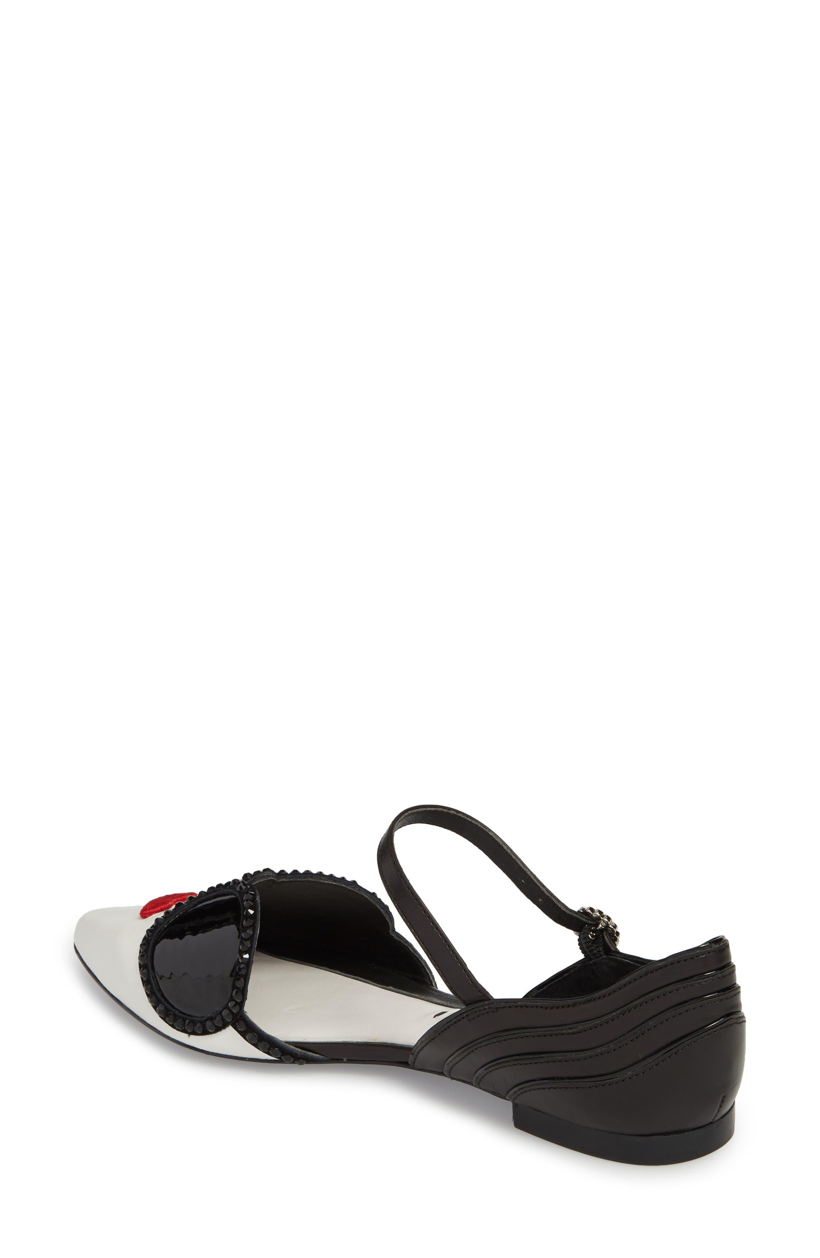Lexi Embellished Pointy Toe Flat,                             Alternate thumbnail 2, color,                             Bianco/ Black/ Poppy