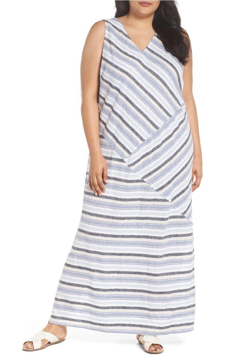 Stripe A-Line Maxi Dress,                         Main,                         color, Blue Erin Stripe