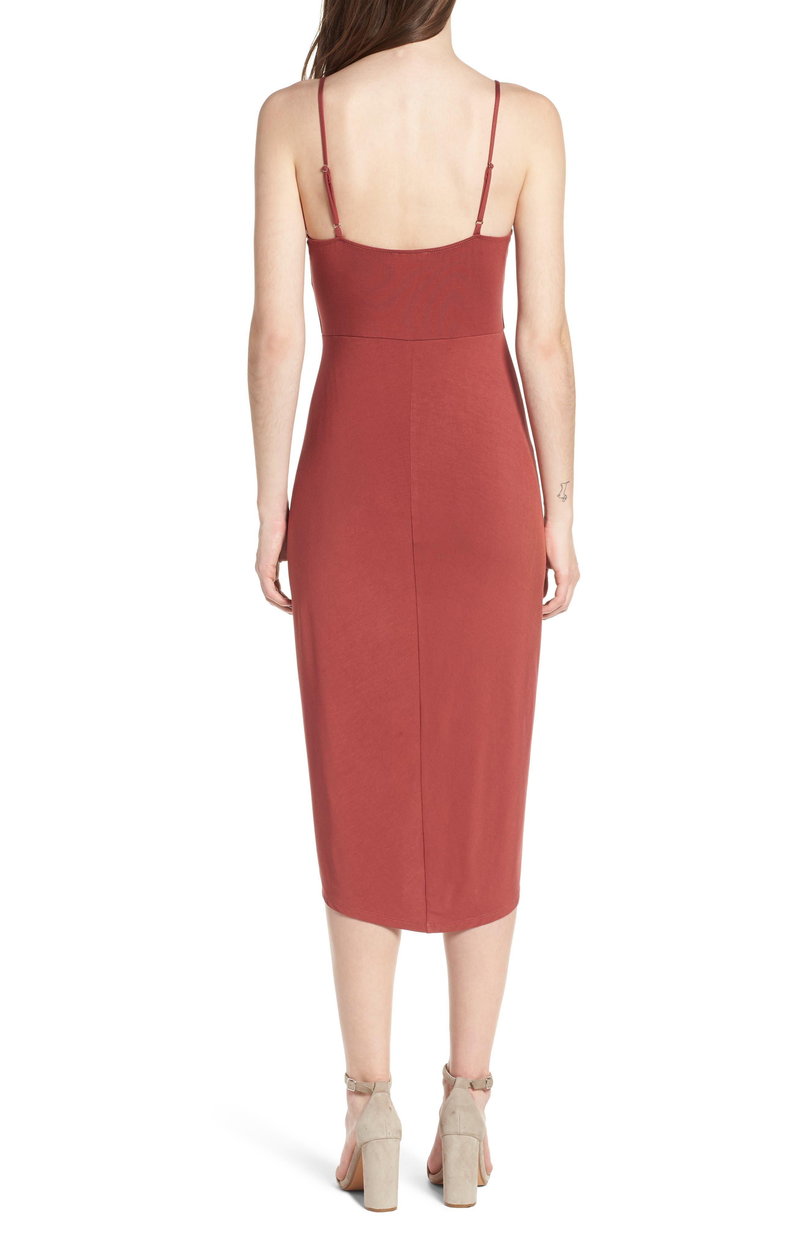 Pleated Wrap Dress,                             Alternate thumbnail 2, color,                             Rust Marsala