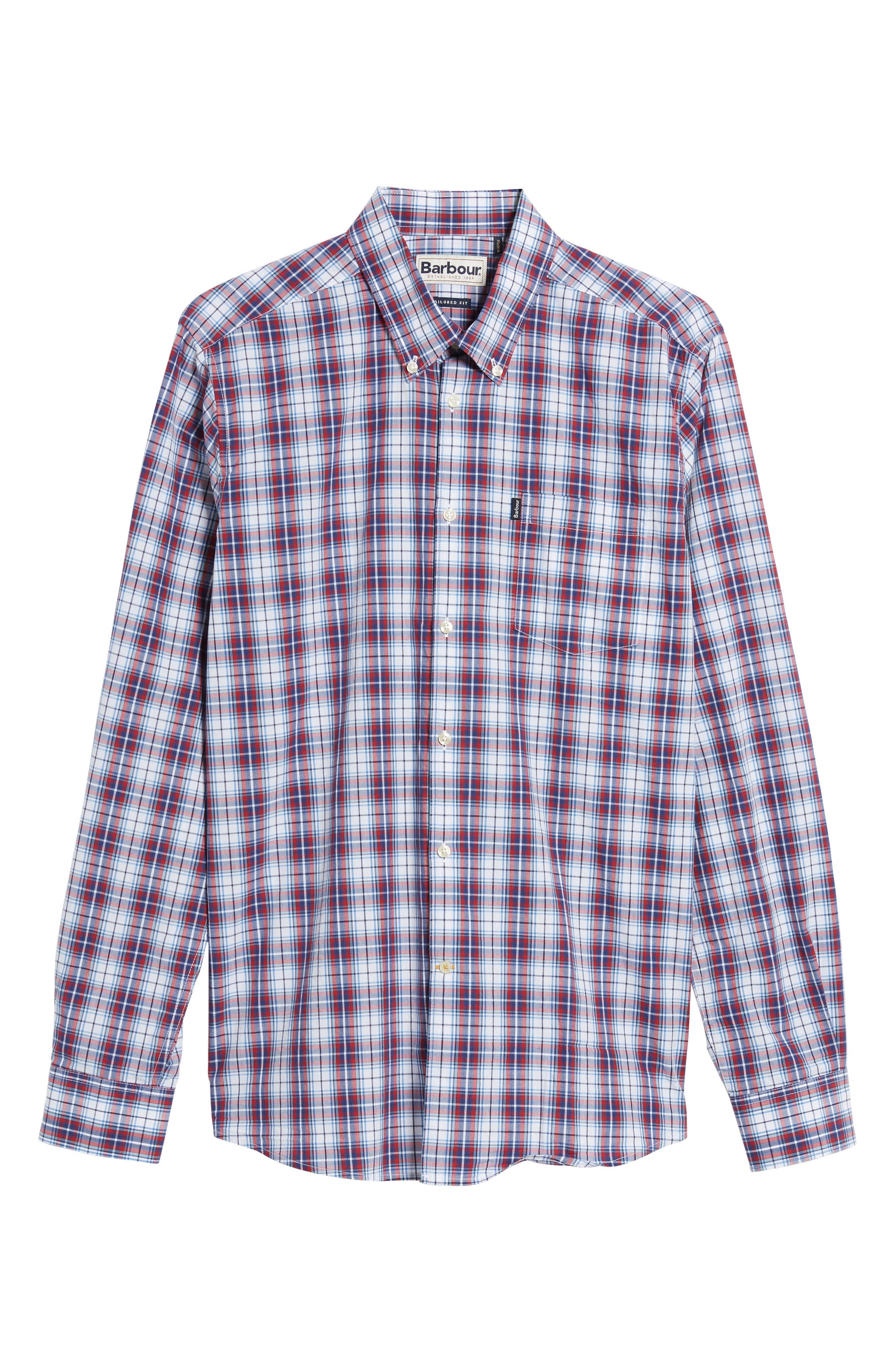 Leo Trim Fit Plaid Sport Shirt,                             Alternate thumbnail 6, color,                             Red