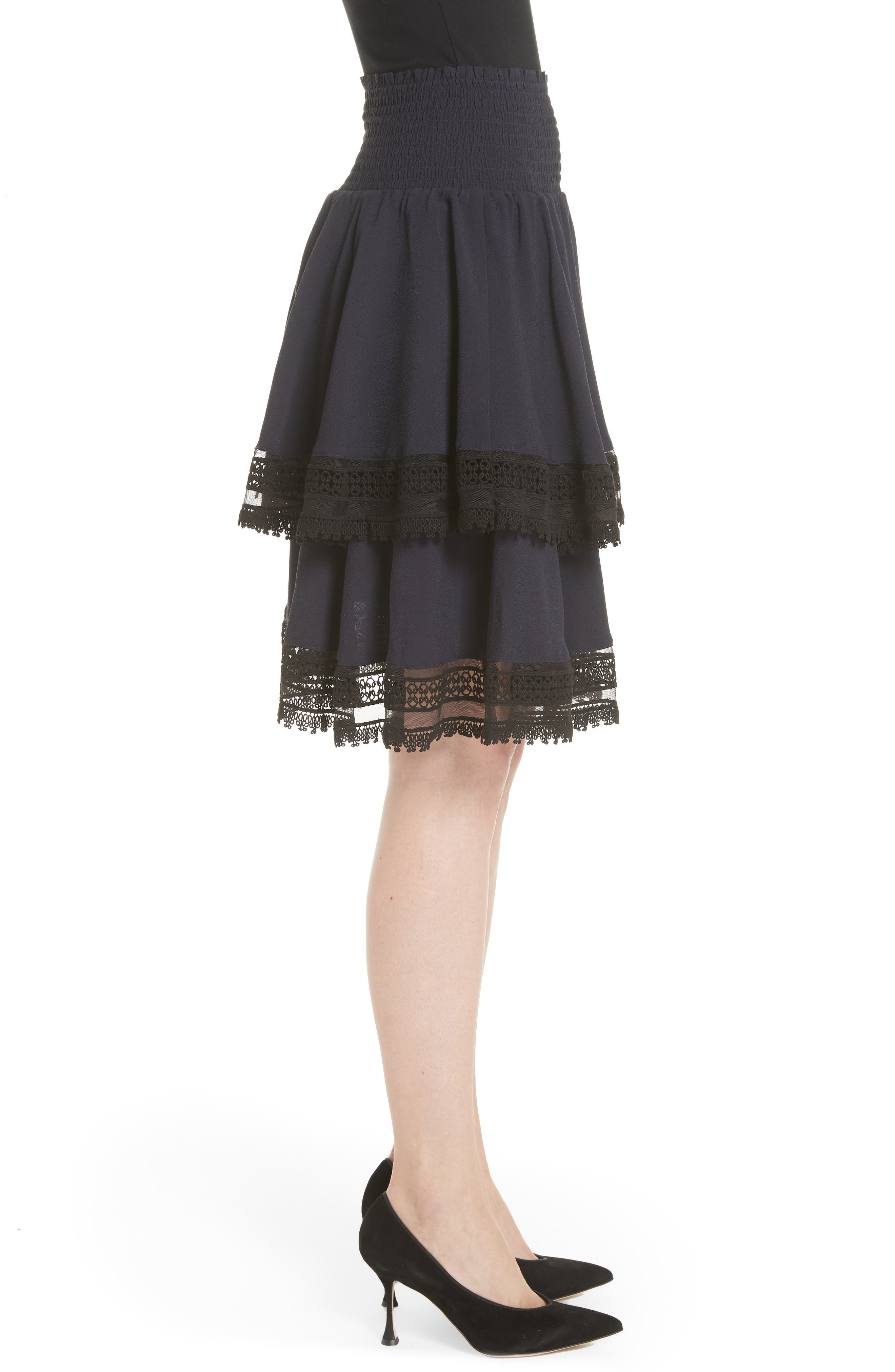 Jaglia Tiered Skirt,                             Alternate thumbnail 3, color,                             Navy
