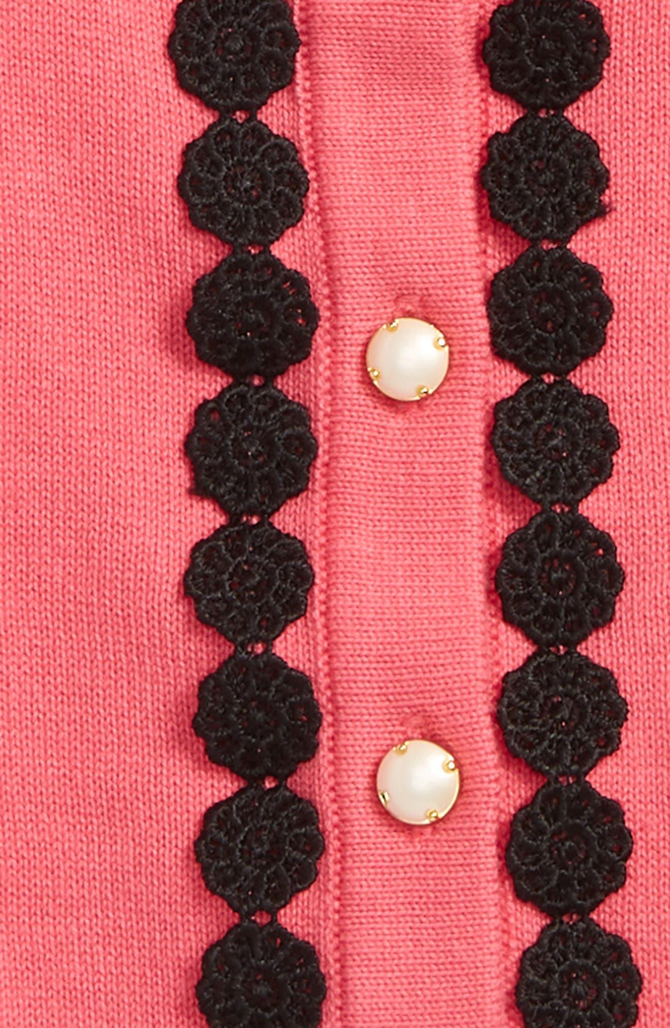 lace trim cardigan,                             Alternate thumbnail 2, color,                             Petunia