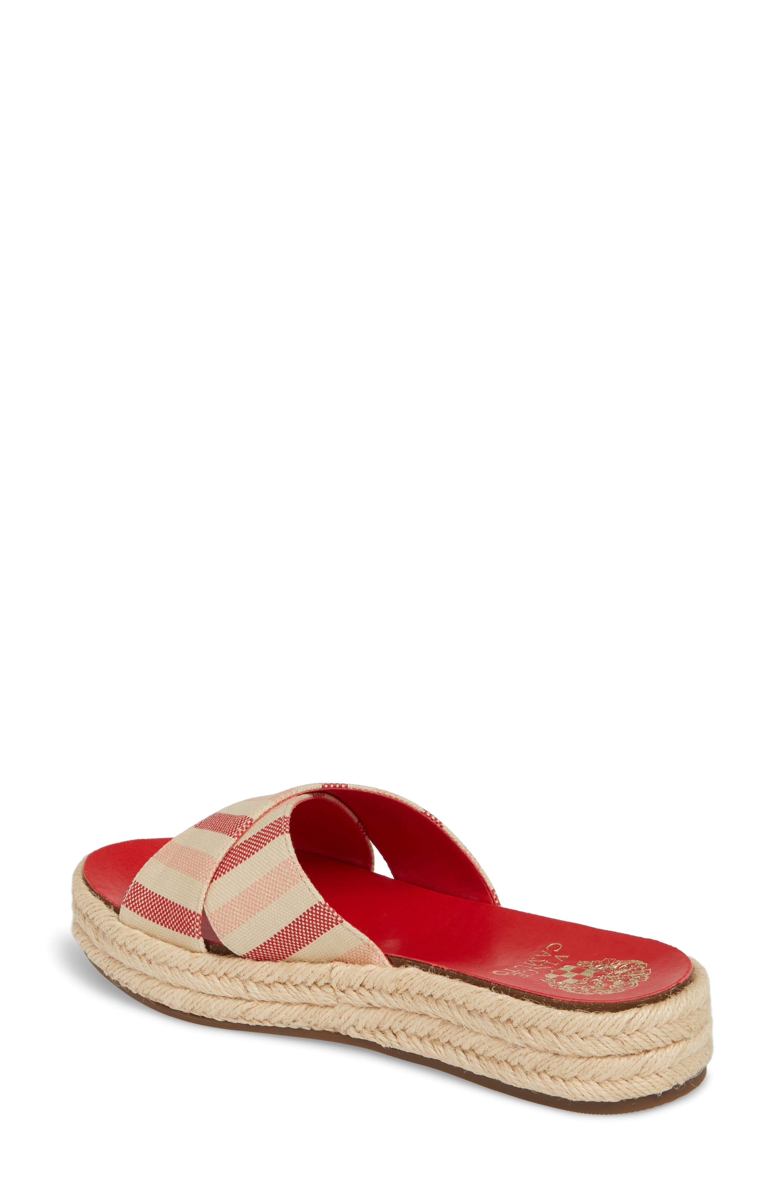 Carran Platform Sandal,                             Alternate thumbnail 2, color,                             Red Hot Rio Stripe Canvas