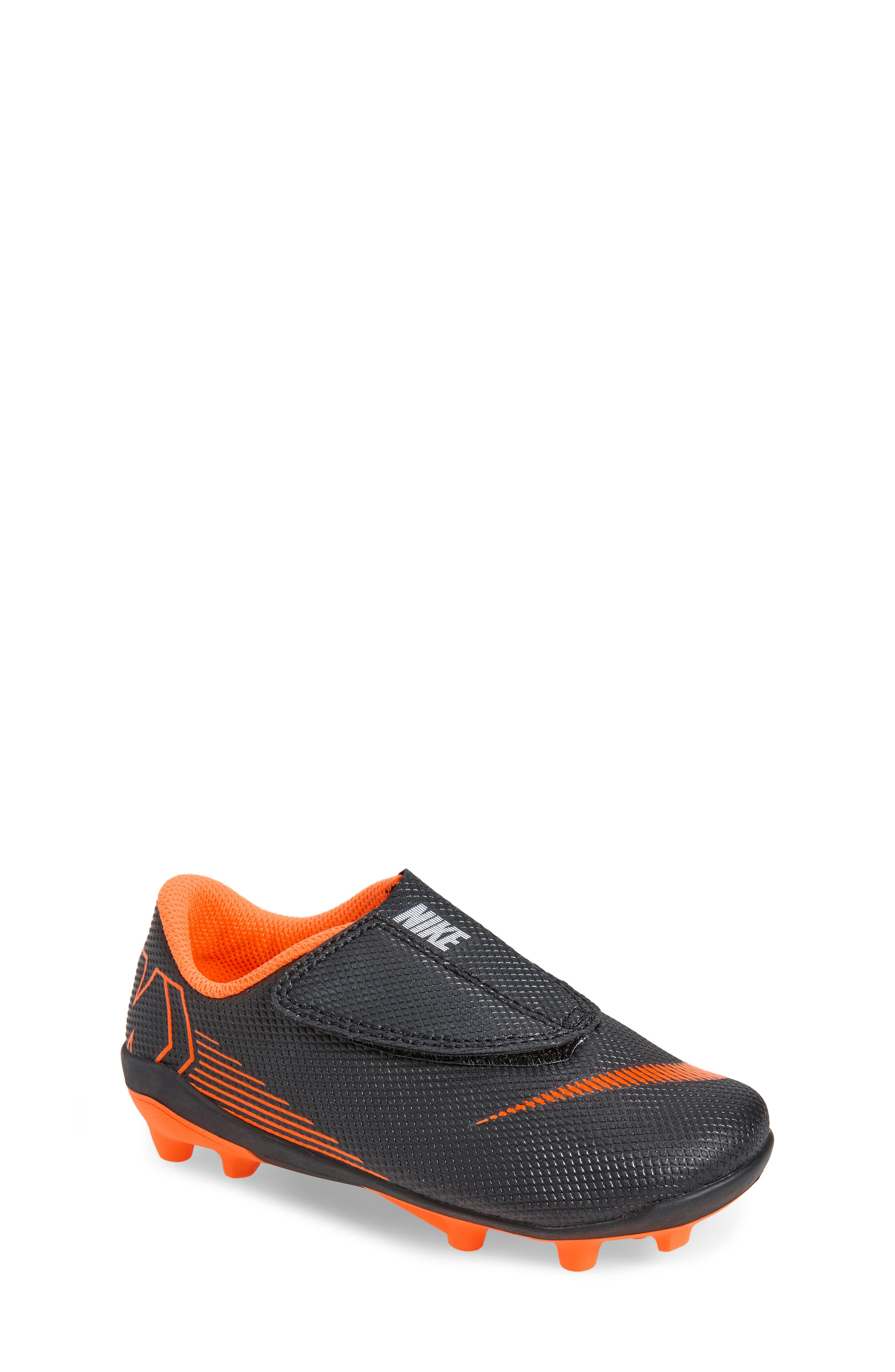 Tiempo Legend 7 Club Firm Ground Soccer Cleat,                         Main,                         color, Black/ Total Orange/ White