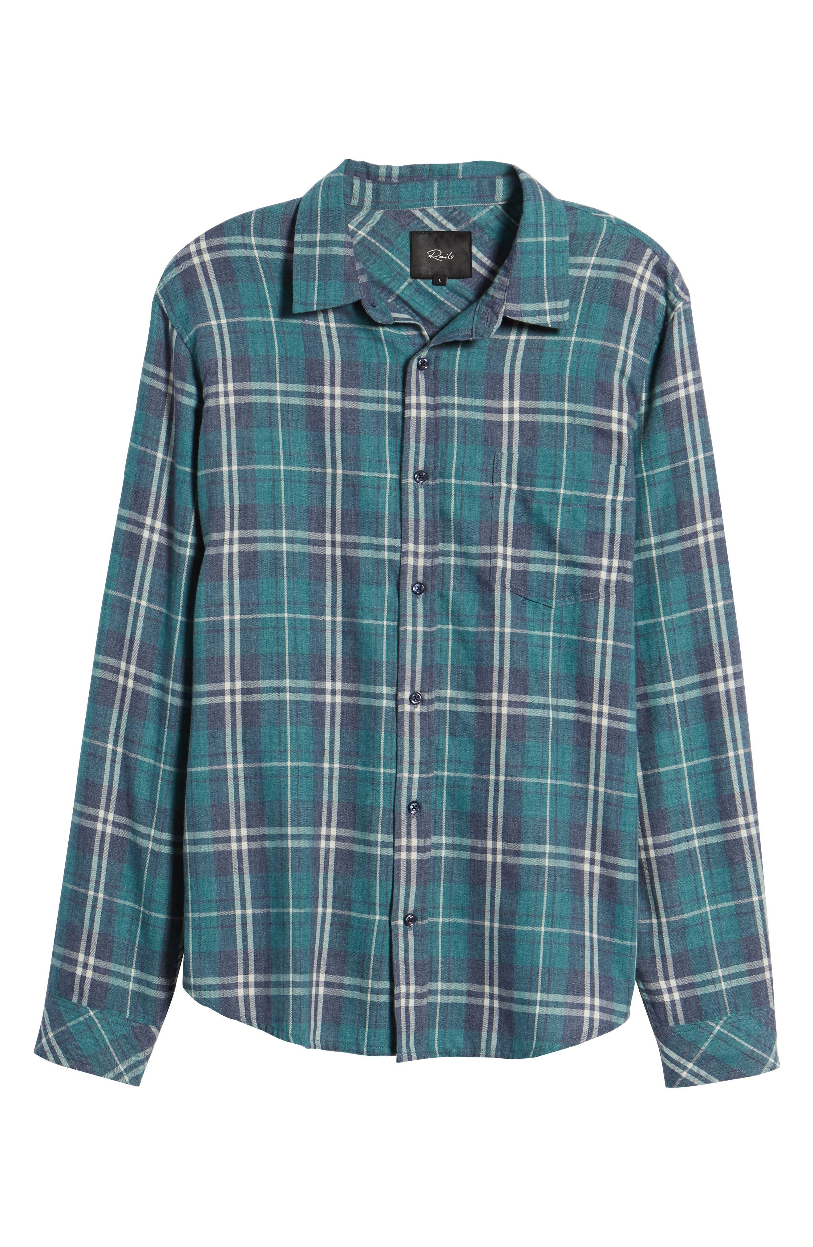 Lennox Slim Fit Plaid Woven Shirt,                             Alternate thumbnail 6, color,                             Veridian Navy White