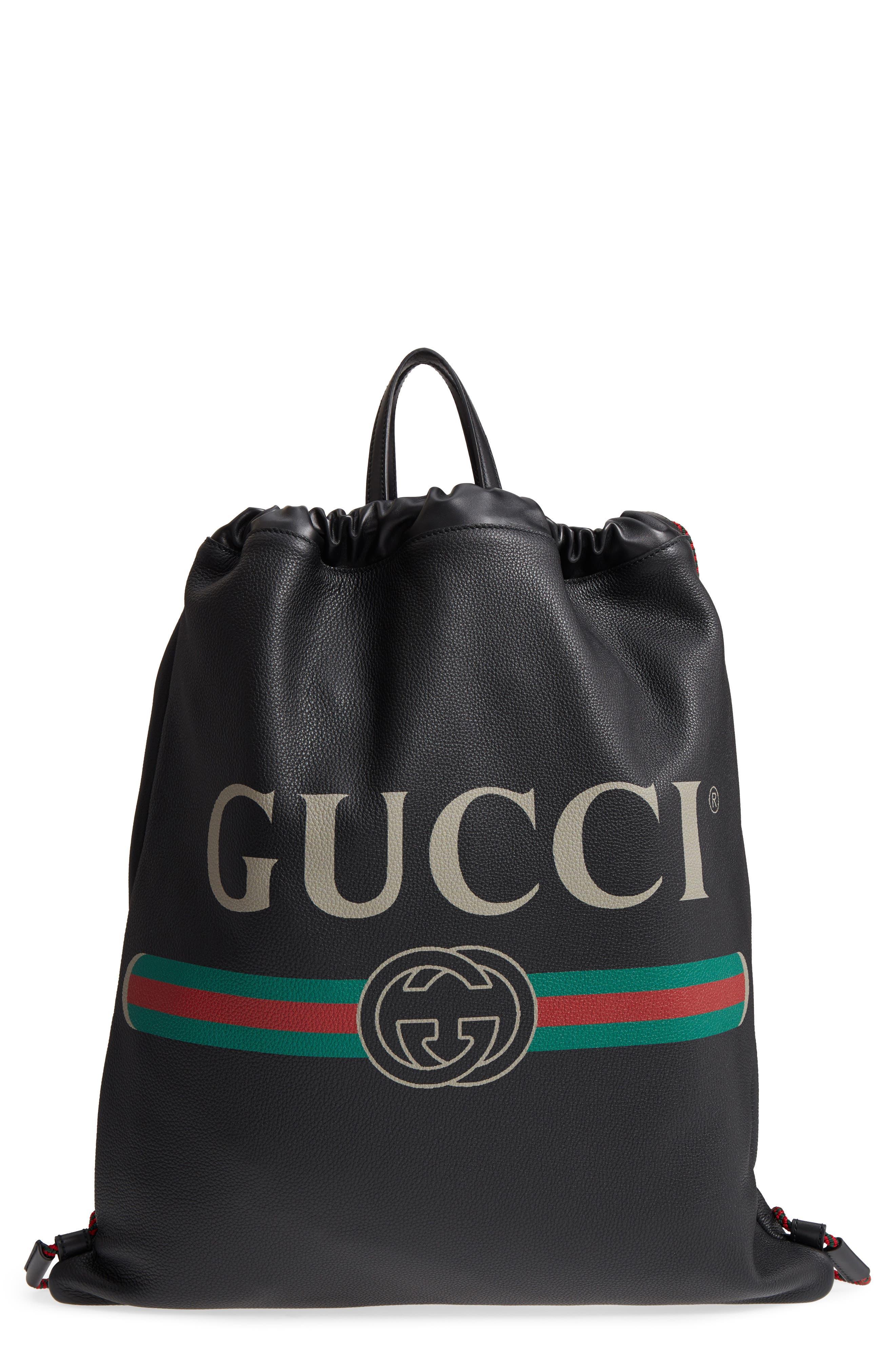 Logo Leather Drawstring Backpack,                         Main,                         color, Black