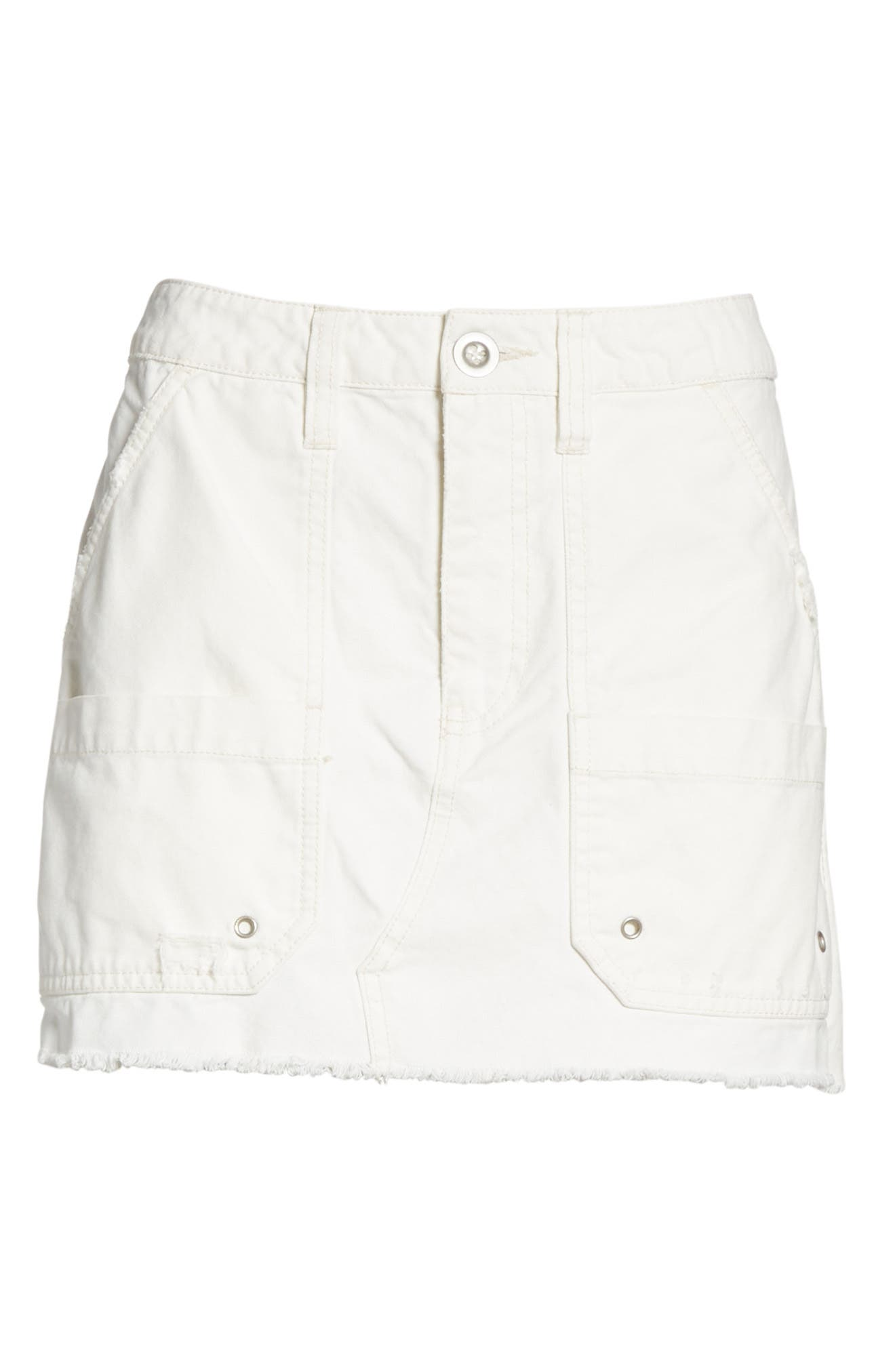 Canvas Miniskirt,                             Alternate thumbnail 6, color,                             Ivory