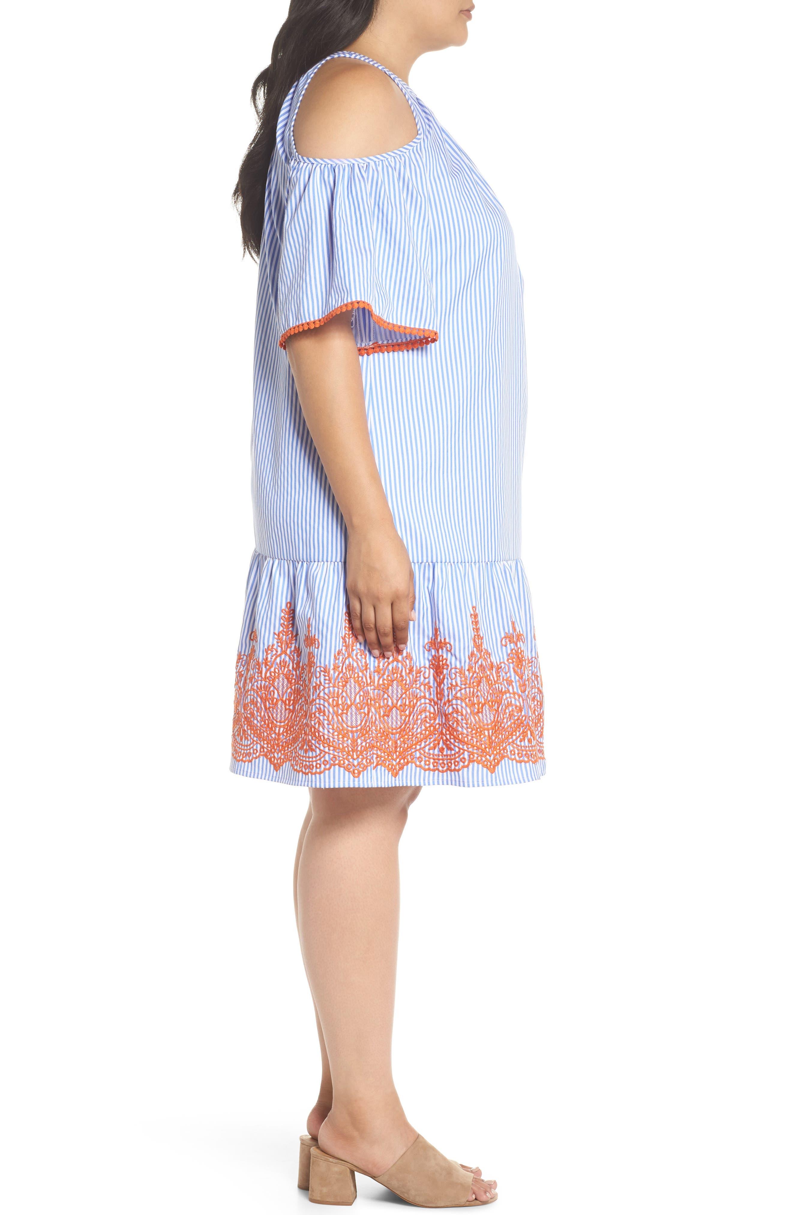 Embroidered Stripe Cold Shoulder Shift Dress,                             Alternate thumbnail 3, color,                             Blue/ White/ Orange