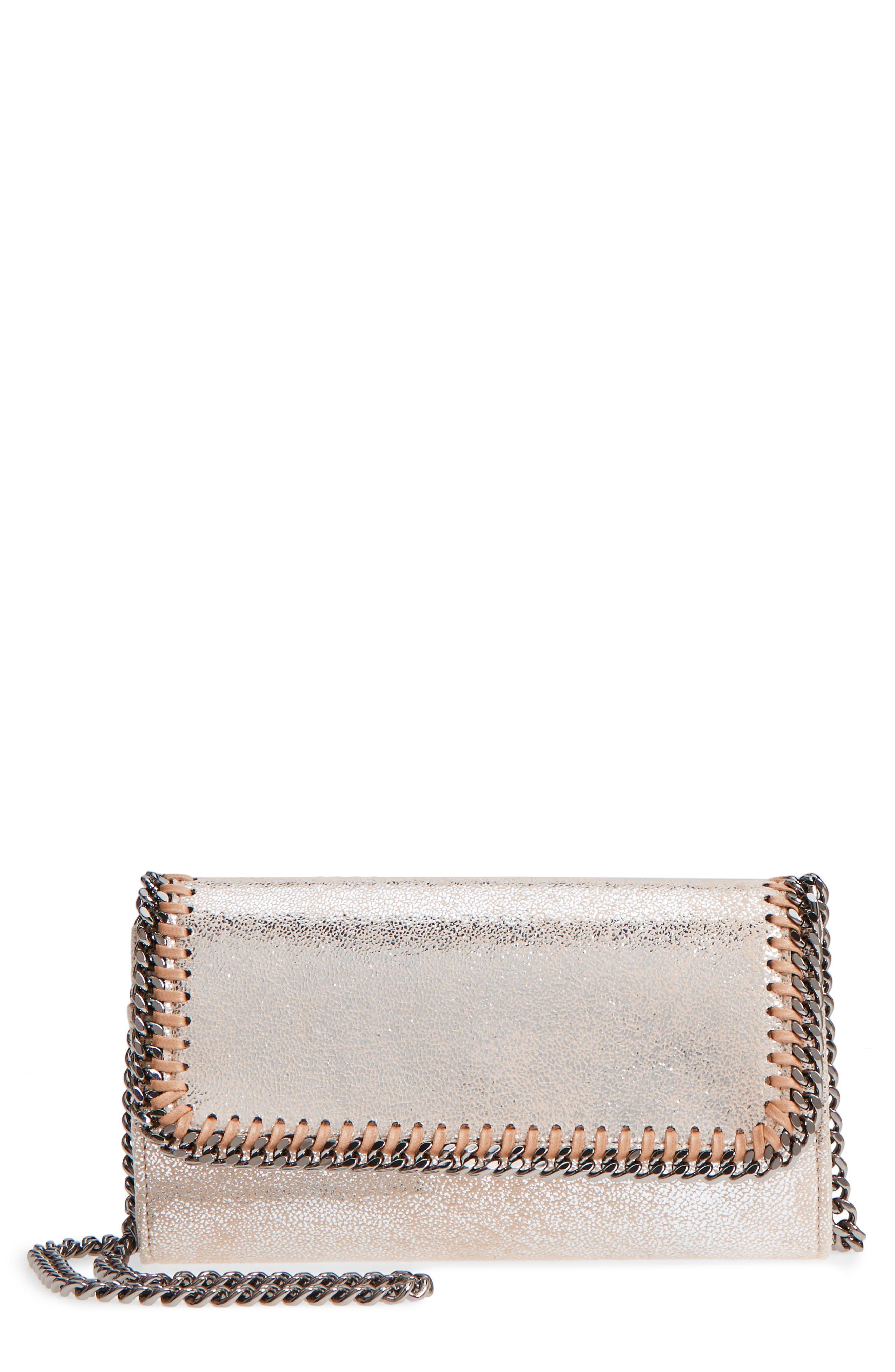 Falabella Metallic Faux Chamois Crossbody Bag,                         Main,                         color, Pale Gold