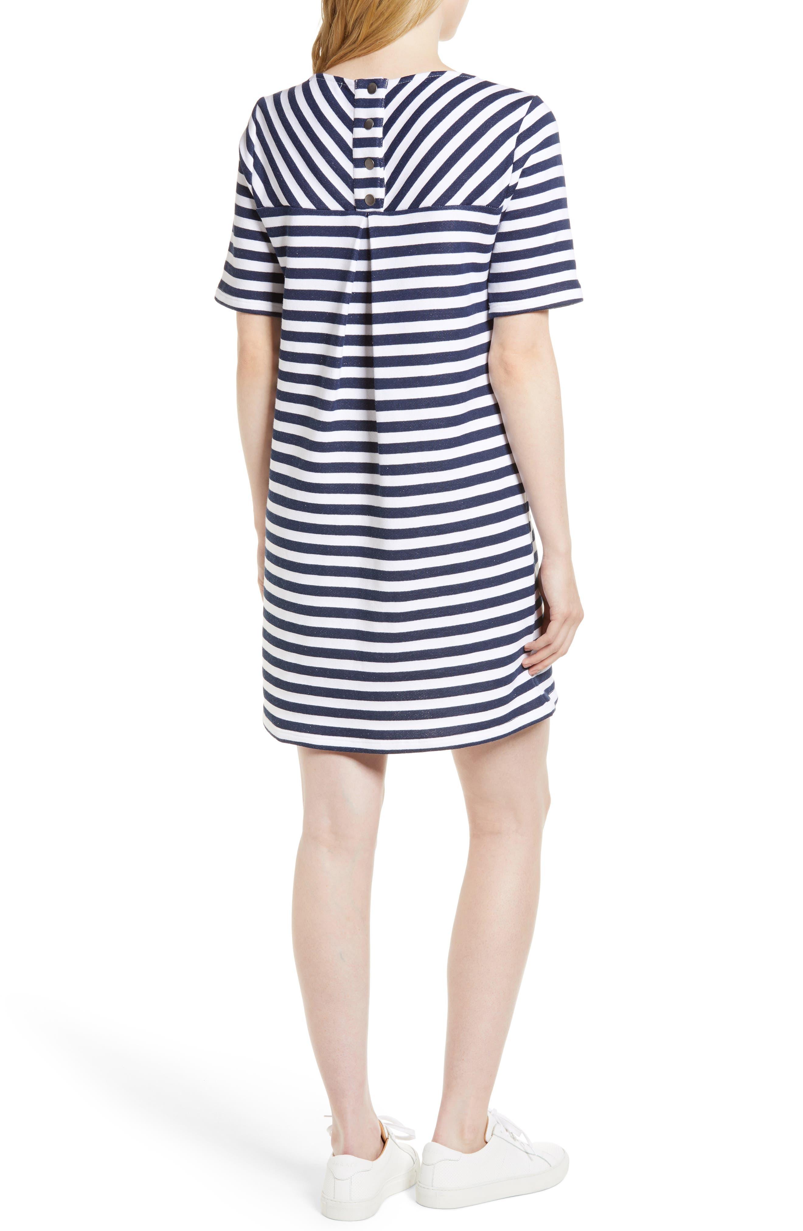 Pleat Back Minidress,                             Alternate thumbnail 2, color,                             Navy/ Ivory Stripe