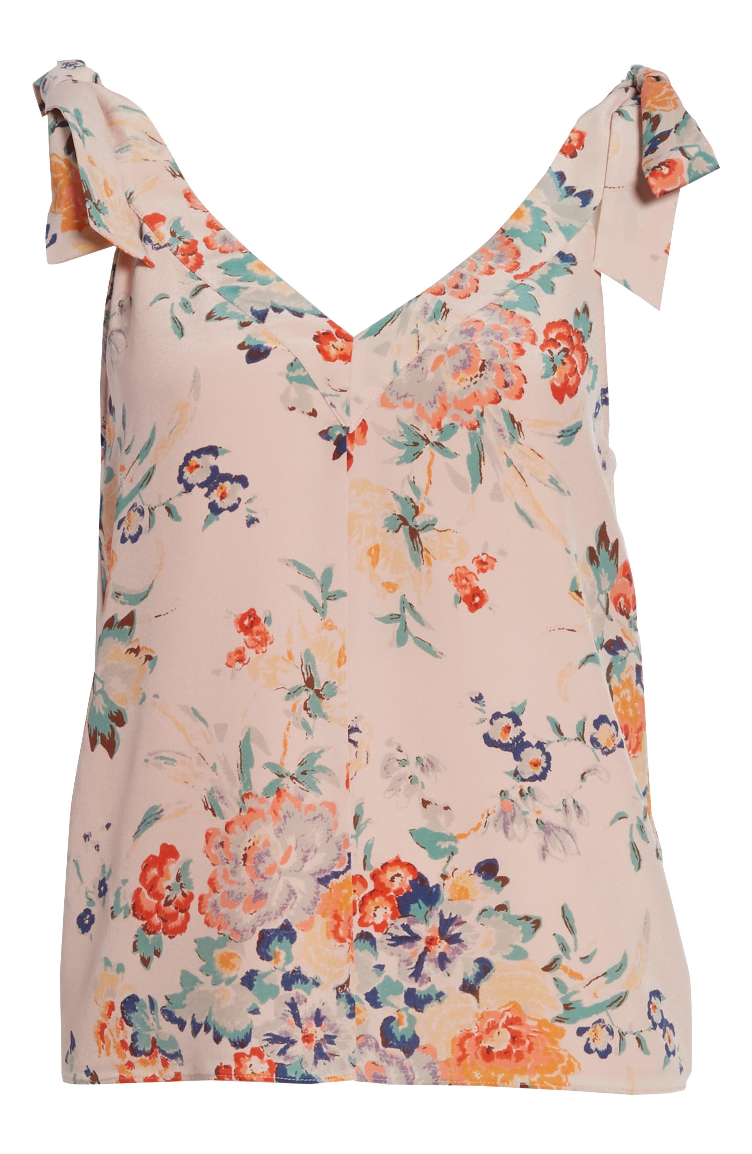 Marlena Floral Silk Tank,                             Alternate thumbnail 6, color,                             Dusty Rose Combo