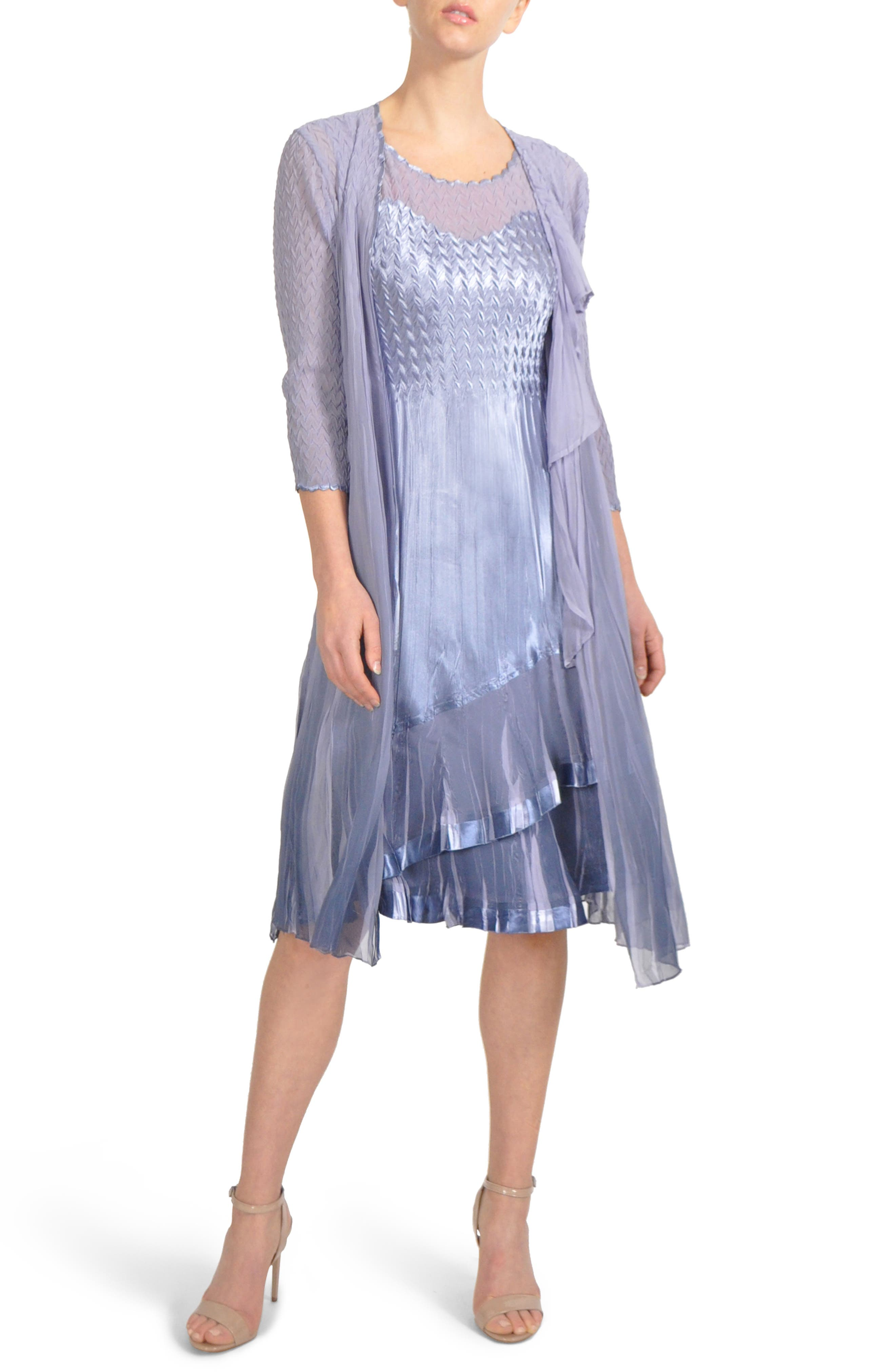 Charmeuse & Chiffon Midi Dress with Jacket,                             Main thumbnail 1, color,                             Lavendar Grey Blue Ombre