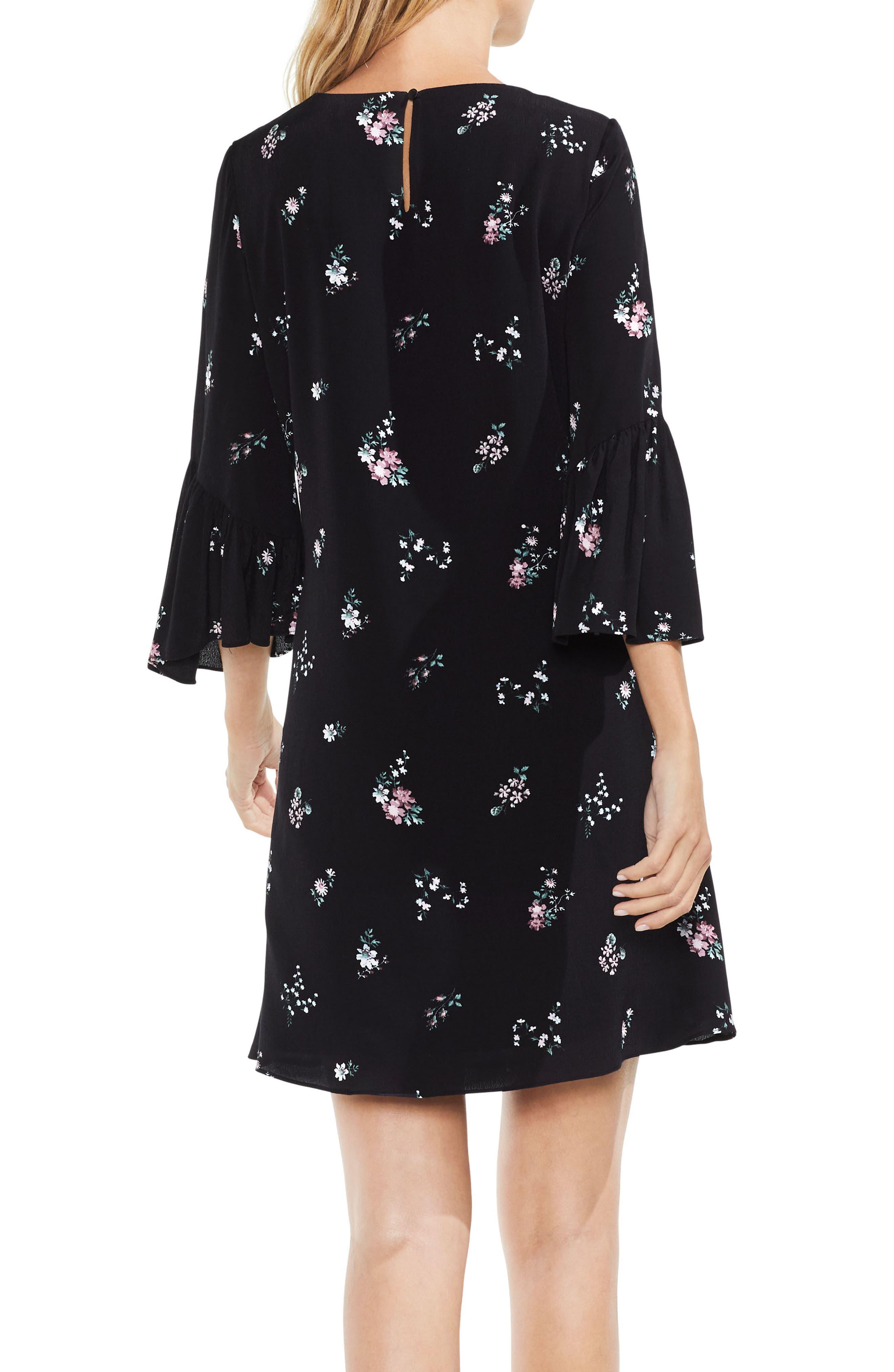 Ruffle Sleeve Floral Dress,                             Alternate thumbnail 2, color,                             Rich Black