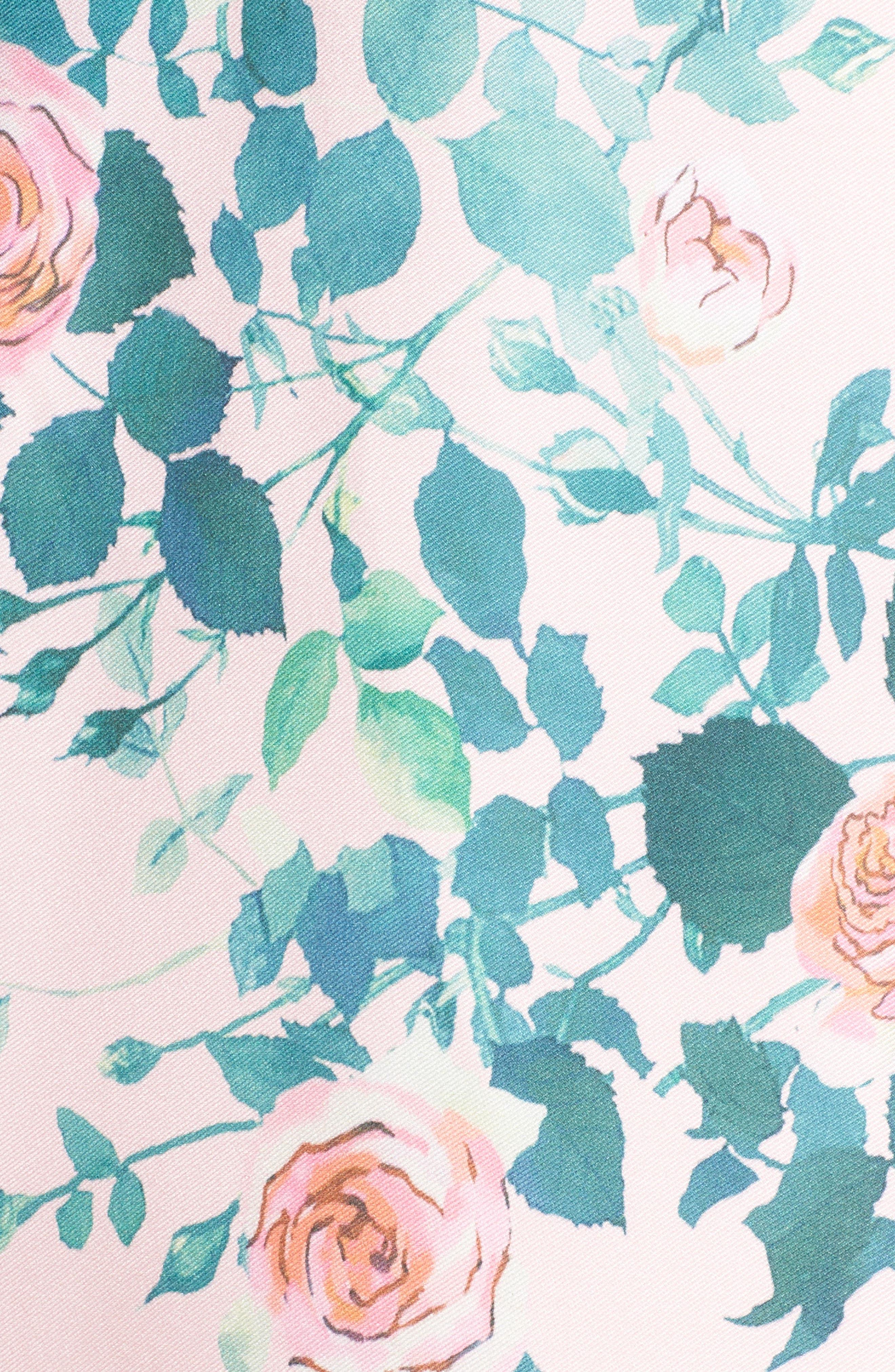 Floral Print Fit & Flare Dress,                             Alternate thumbnail 5, color,                             Pink Rose