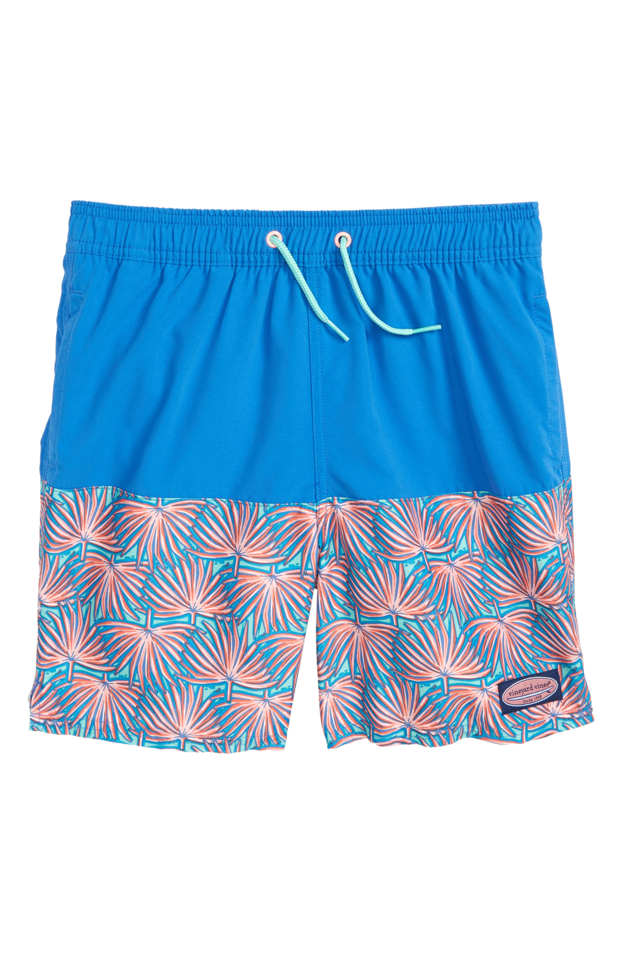 Chappy Fan Palm Print Swim Trunks,                         Main,                         color, Capri Blue