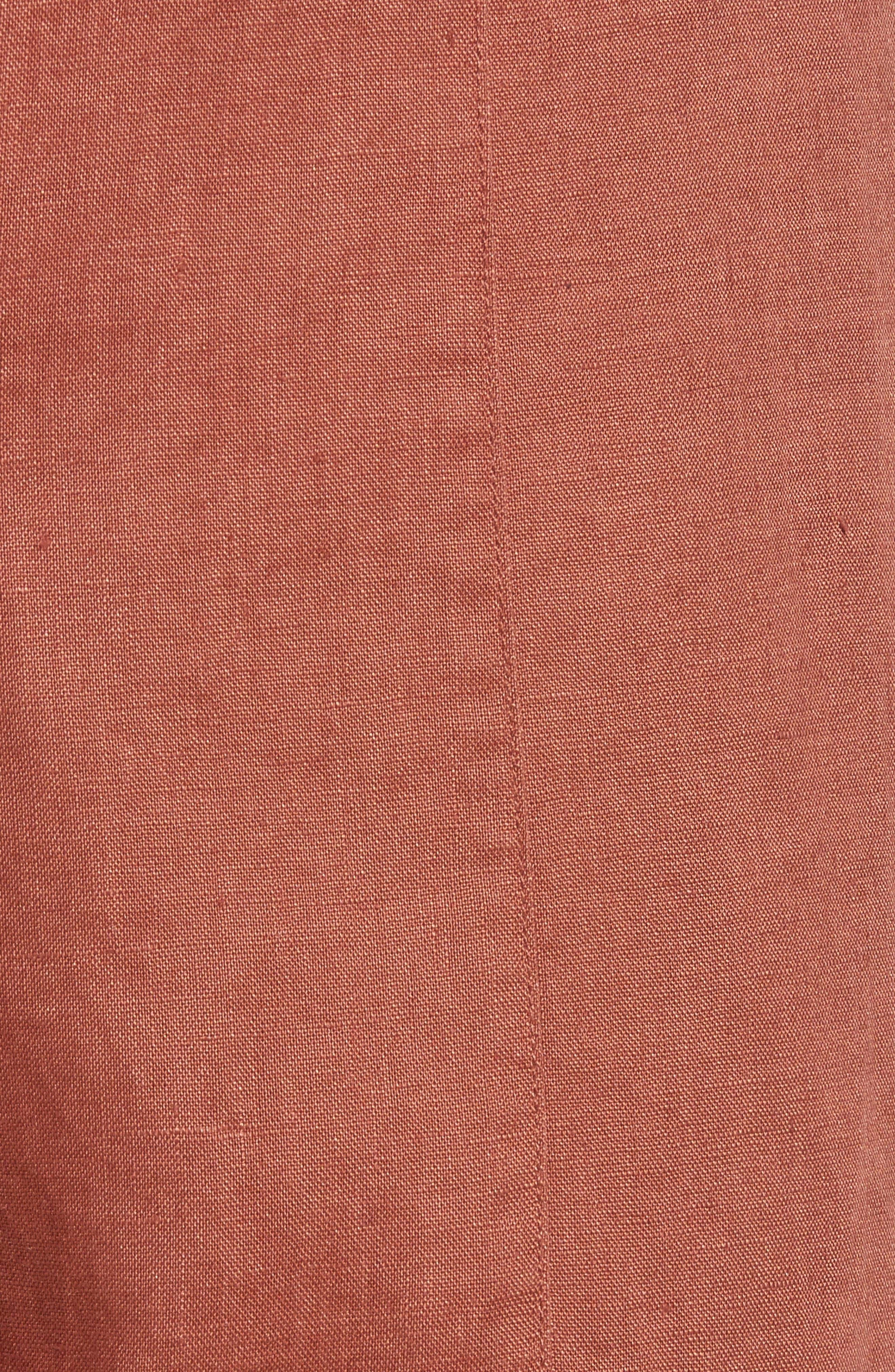 Organic Linen Crop Pants,                             Alternate thumbnail 6, color,                             Russet
