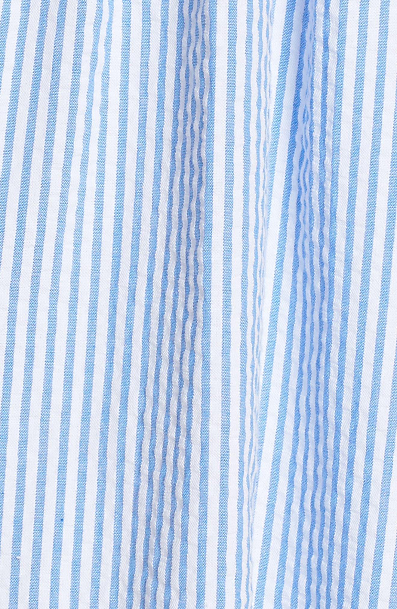 Lilly Pullitzer<sup>®</sup> Alivia Eyelet & Seersucker Fit & Flare Dress,                             Alternate thumbnail 5, color,                             Bennet Blue Yard Dyed Stripe