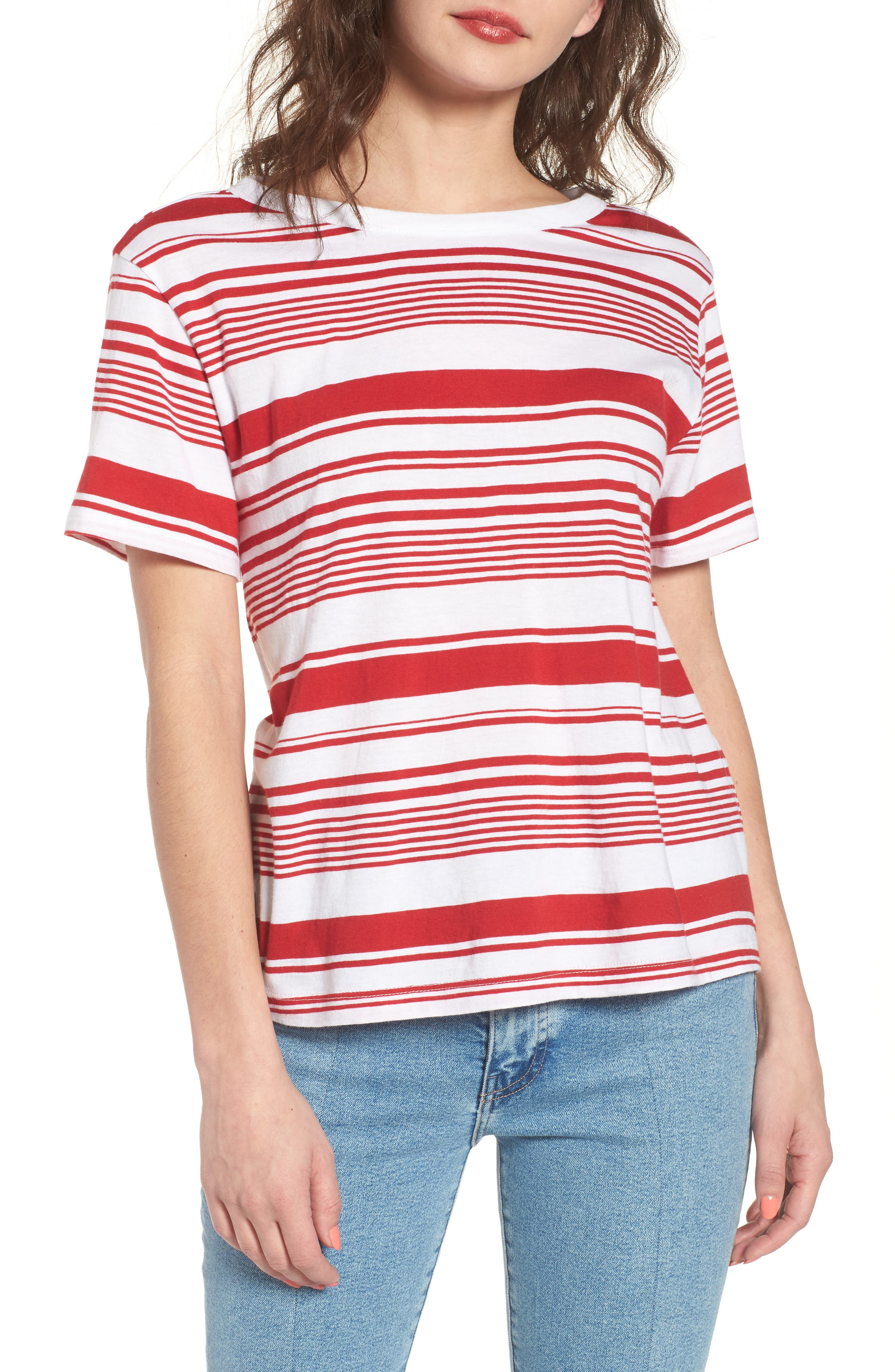 Twist Back Tee,                             Main thumbnail 1, color,                             Red Couture Monaco Stripe