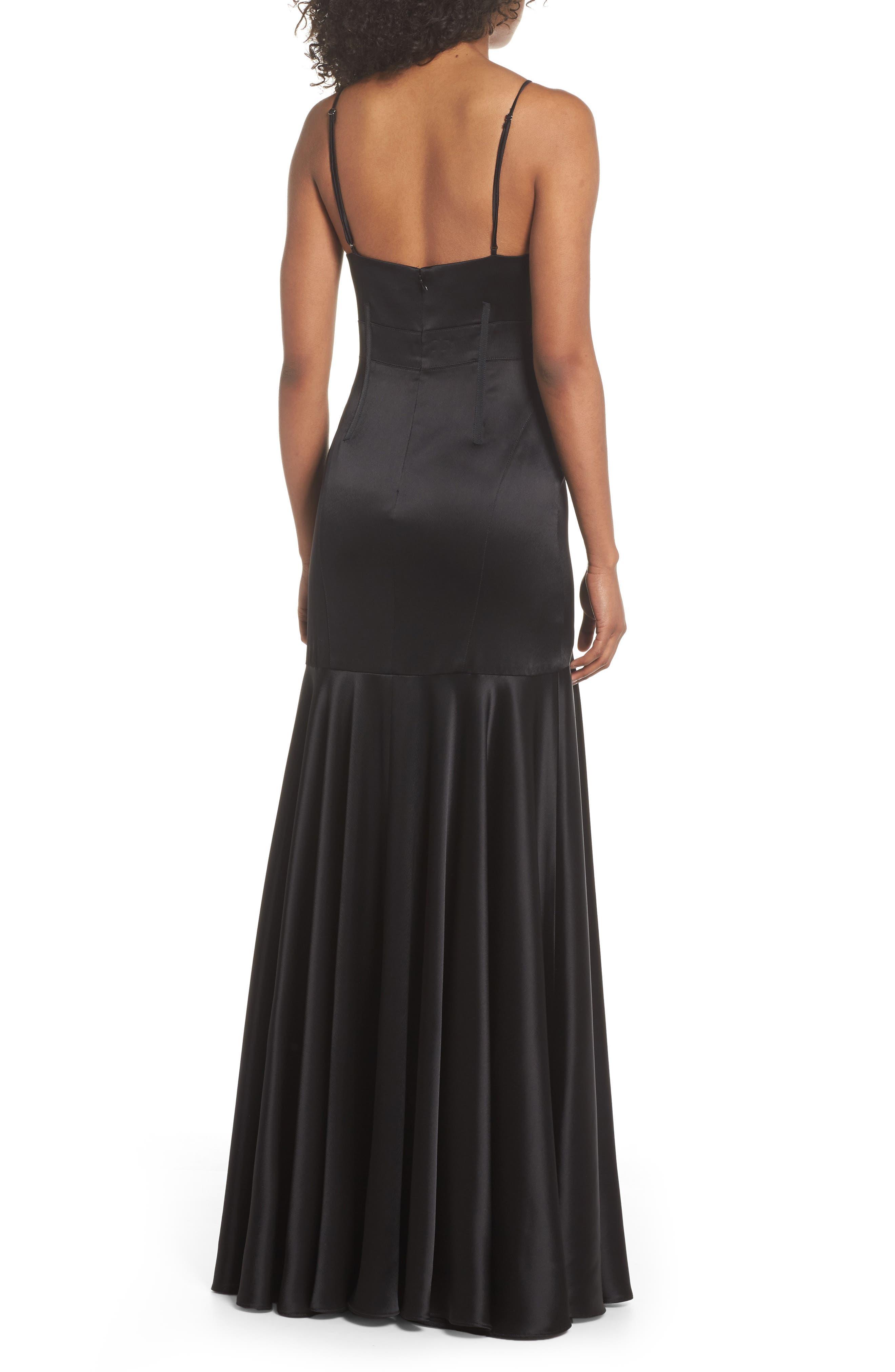 Corset Detail Satin Gown,                             Alternate thumbnail 2, color,                             Black