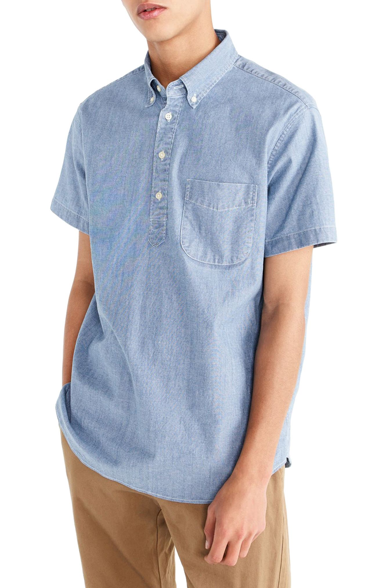 J.Crew Short Sleeve Stretch Chambray Popover Shirt,                             Main thumbnail 1, color,                             Indigo