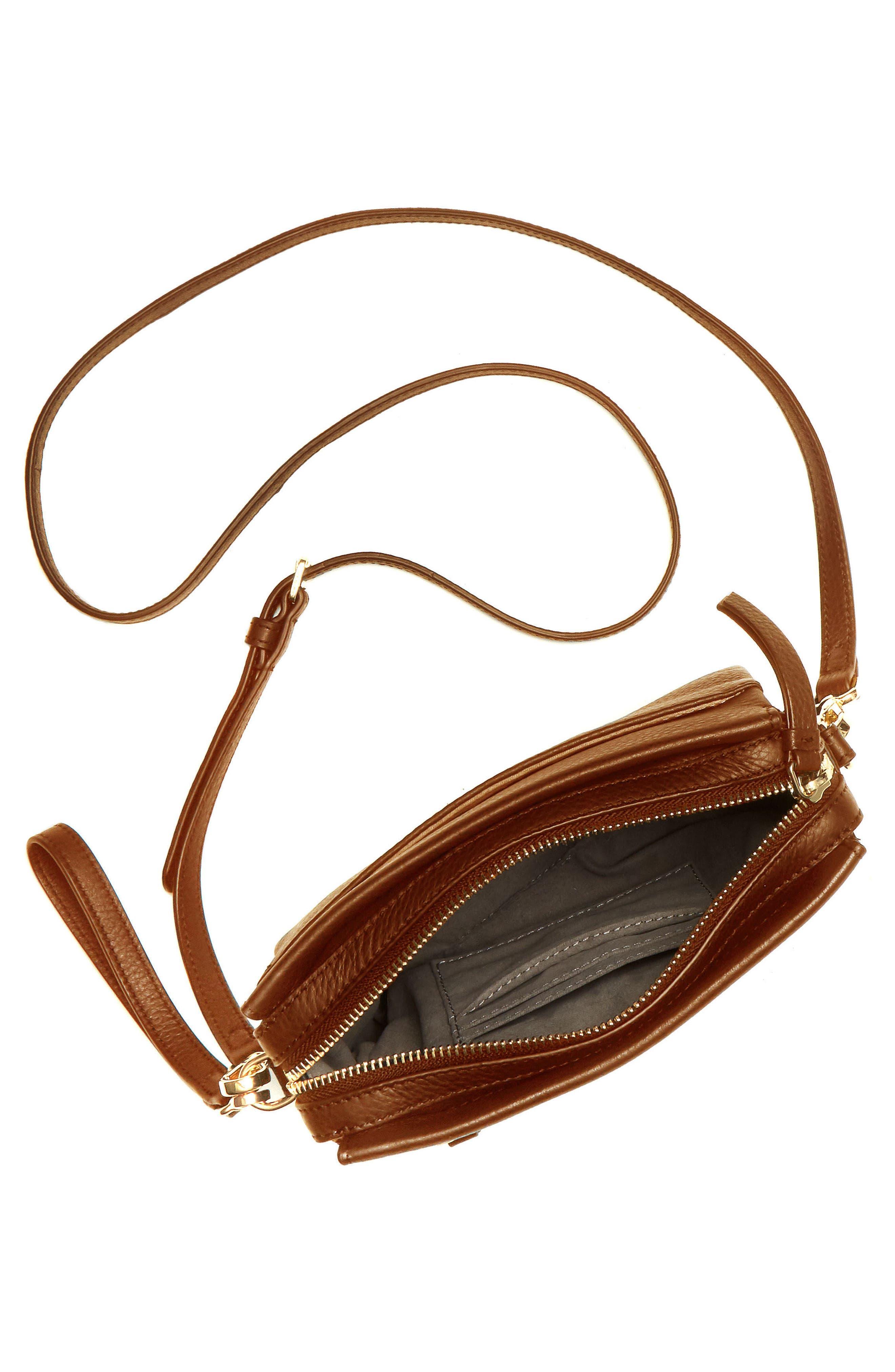 Codec Leather Crossbody Bag,                             Alternate thumbnail 3, color,                             Dark Rum