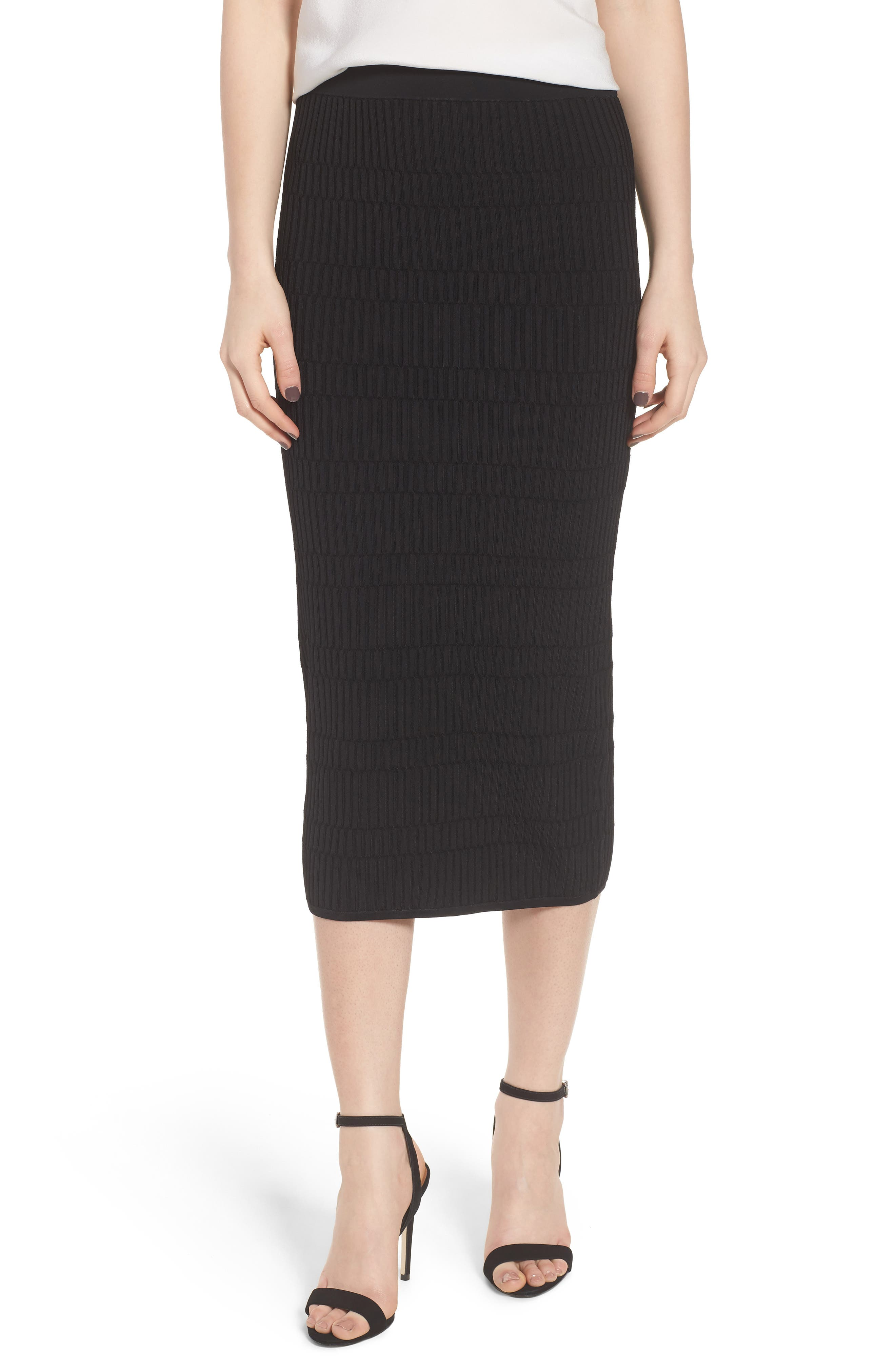Texture Stitch Tube Skirt,                         Main,                         color, Black