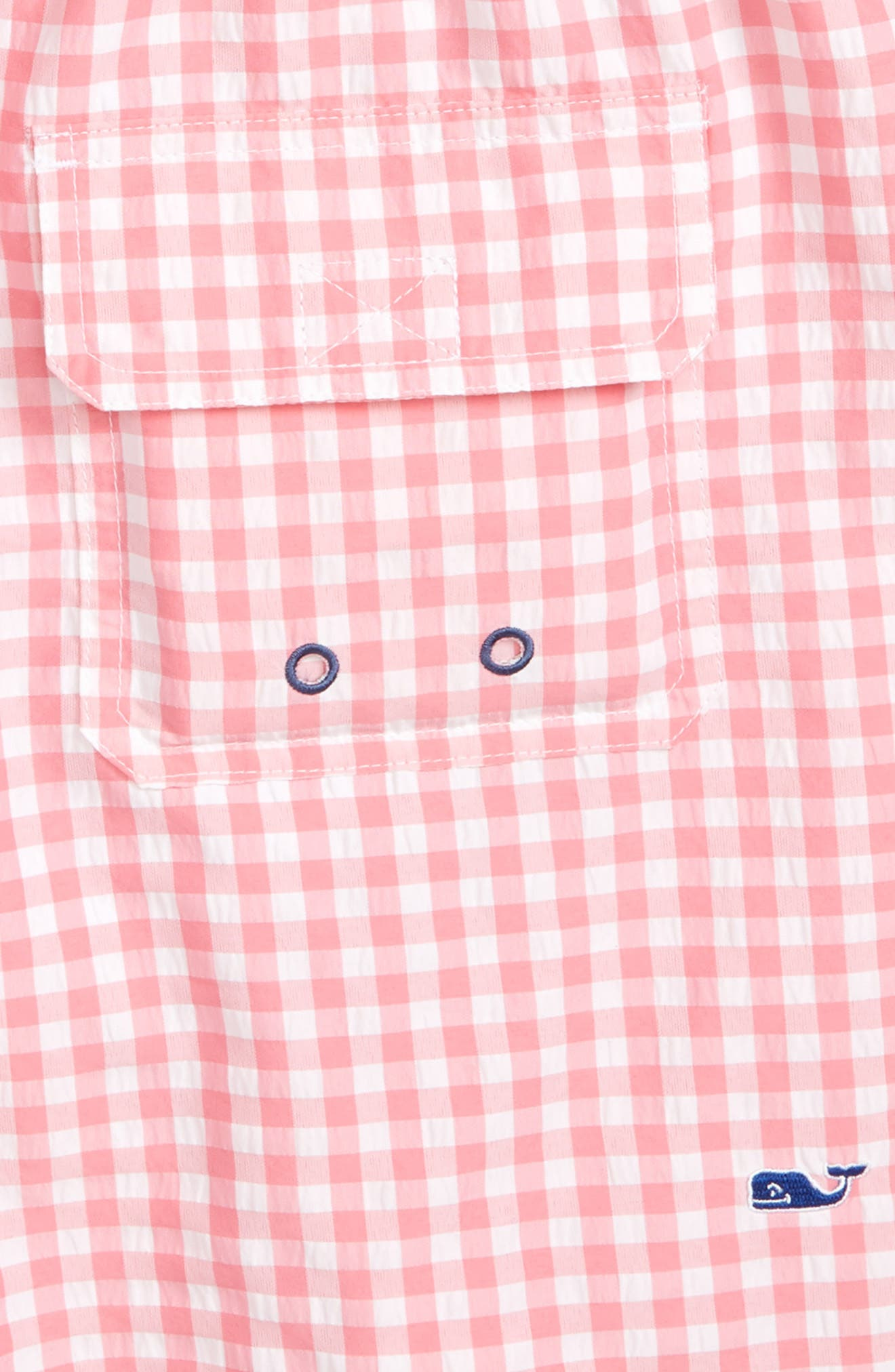 Embroidered Micro Gingham Check Swim Trunks,                             Alternate thumbnail 3, color,                             Bahama Breeze