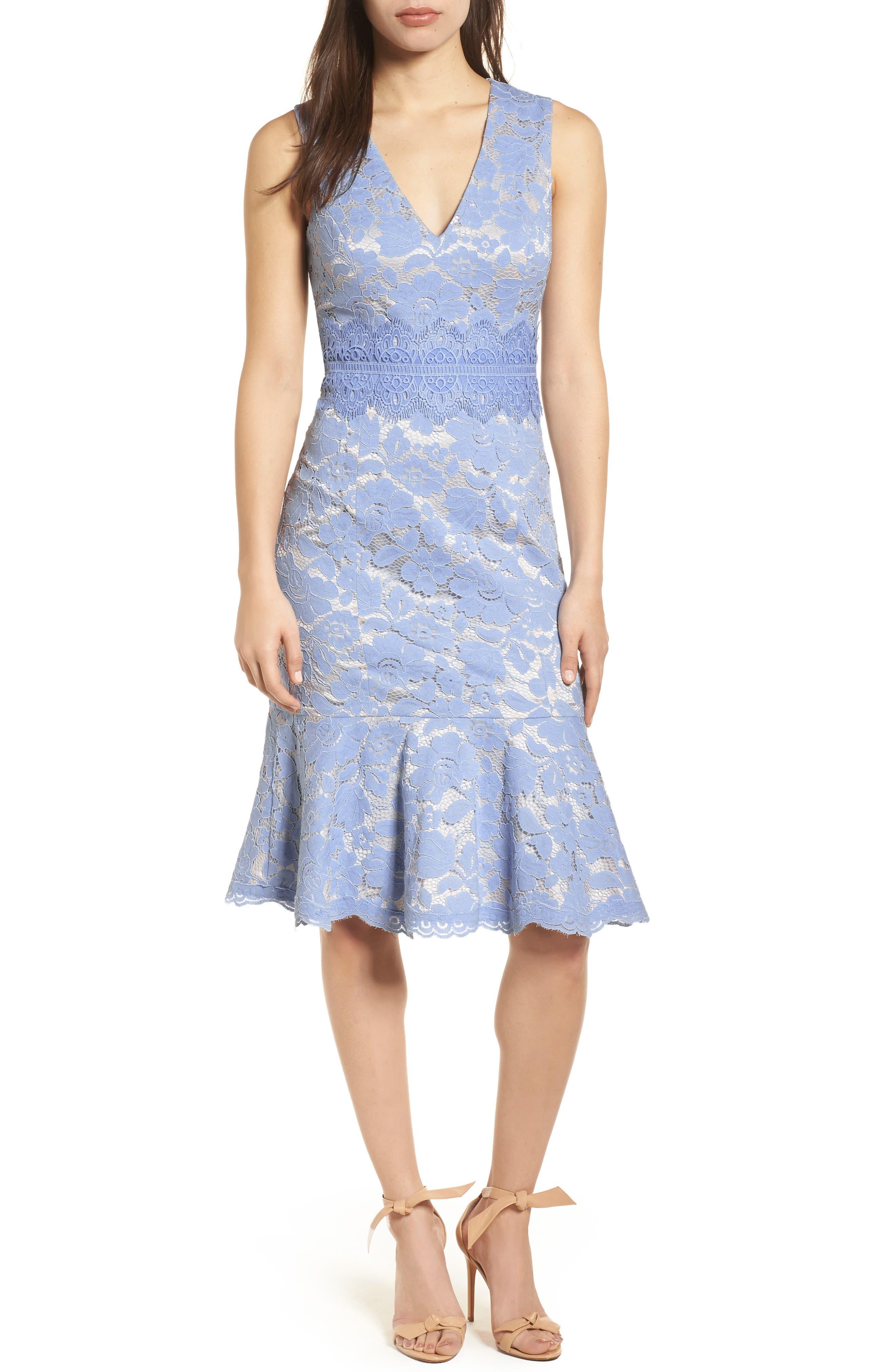 Alternate Image 1 Selected - Vince Camuto Lace Sheath Dress (Regular & Petite)