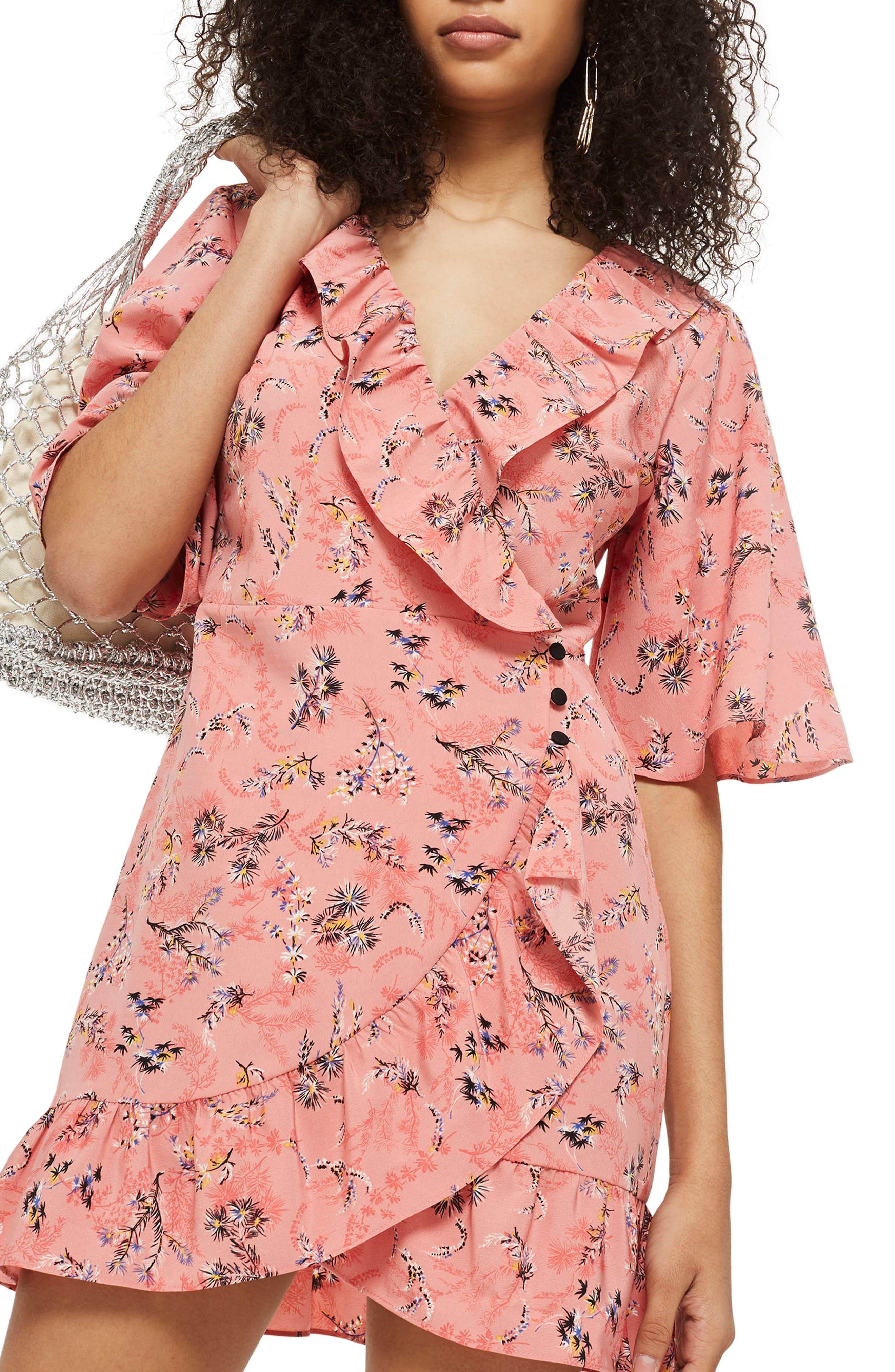 Off Duty Ruffle Tea Dress,                             Main thumbnail 1, color,                             Pink