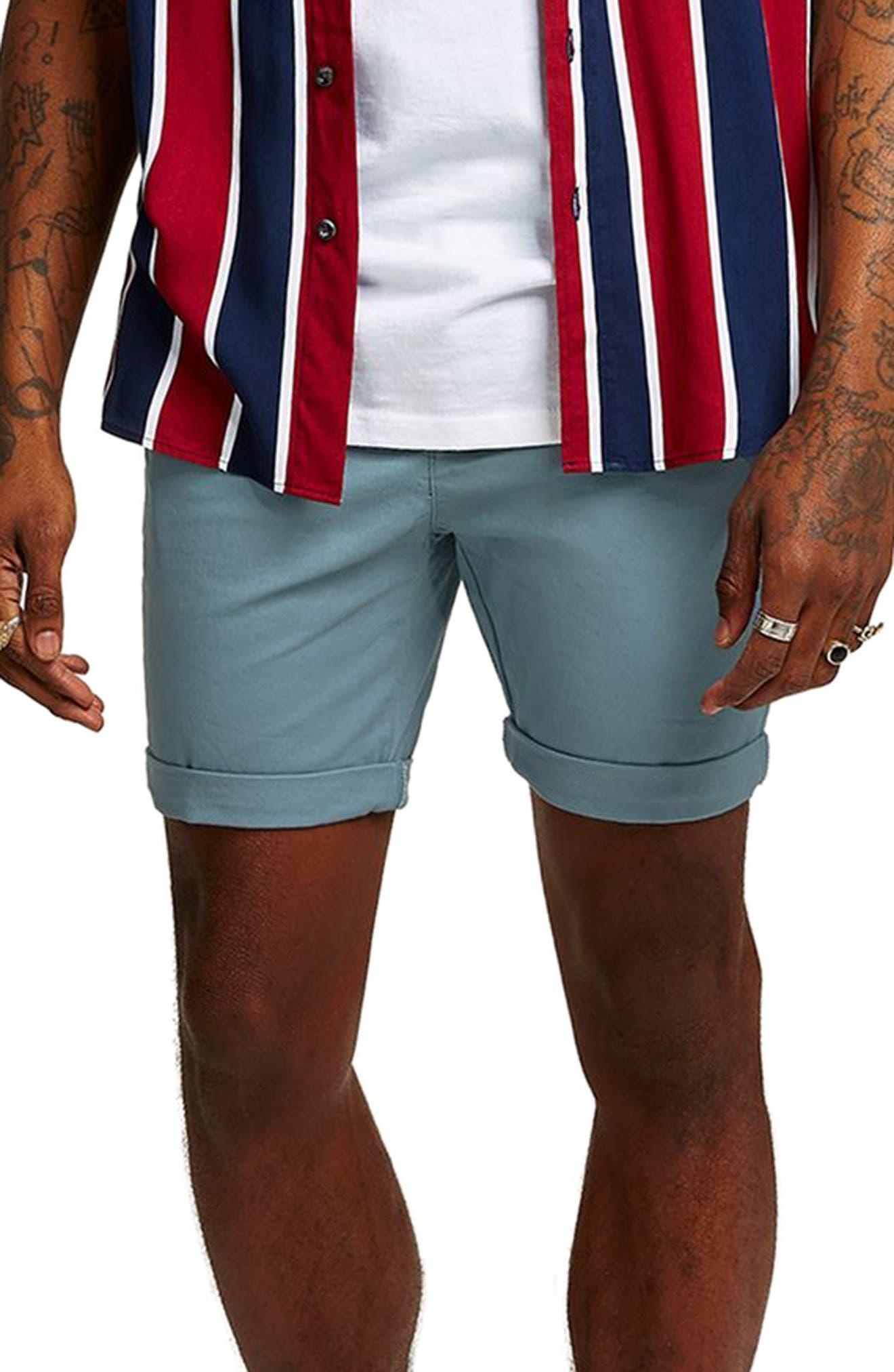 Skinny Fit Chino Shorts,                         Main,                         color, Dark Blue